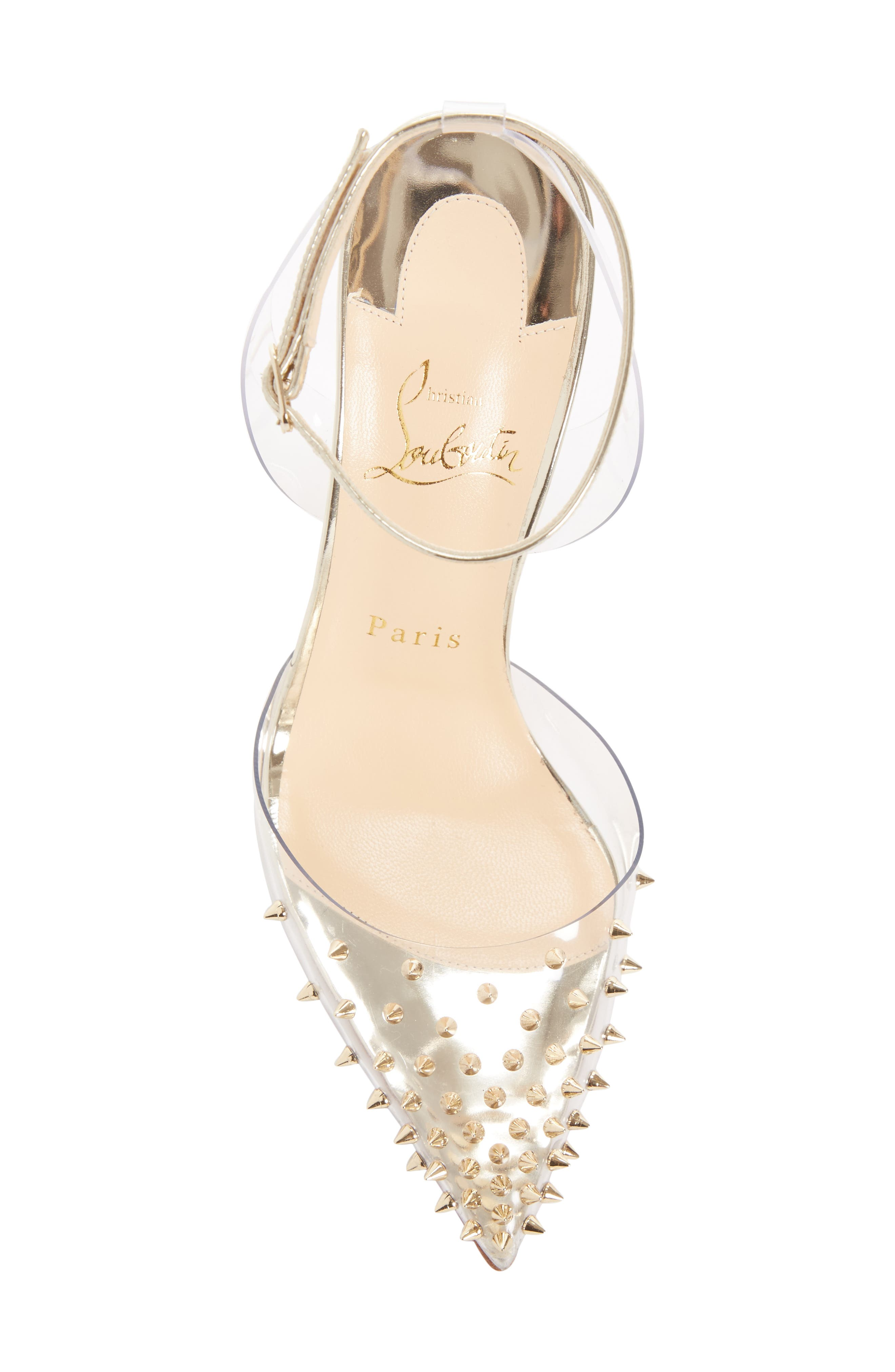 Spikoo Clear Ankle Strap Pump,                             Alternate thumbnail 5, color,                             LIGHT GOLD