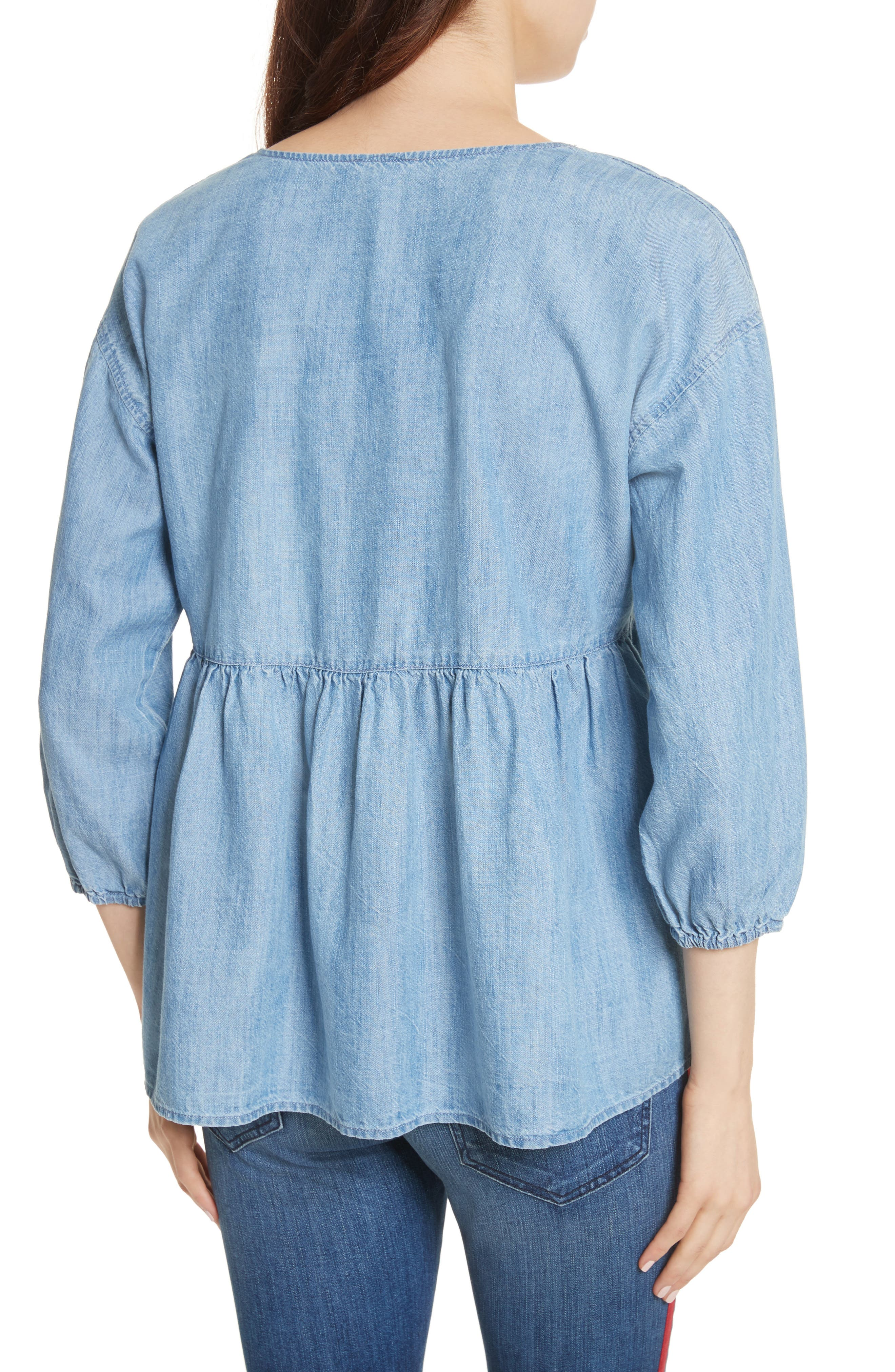 Bealette Lace-Up Chambray Top,                             Alternate thumbnail 2, color,                             481