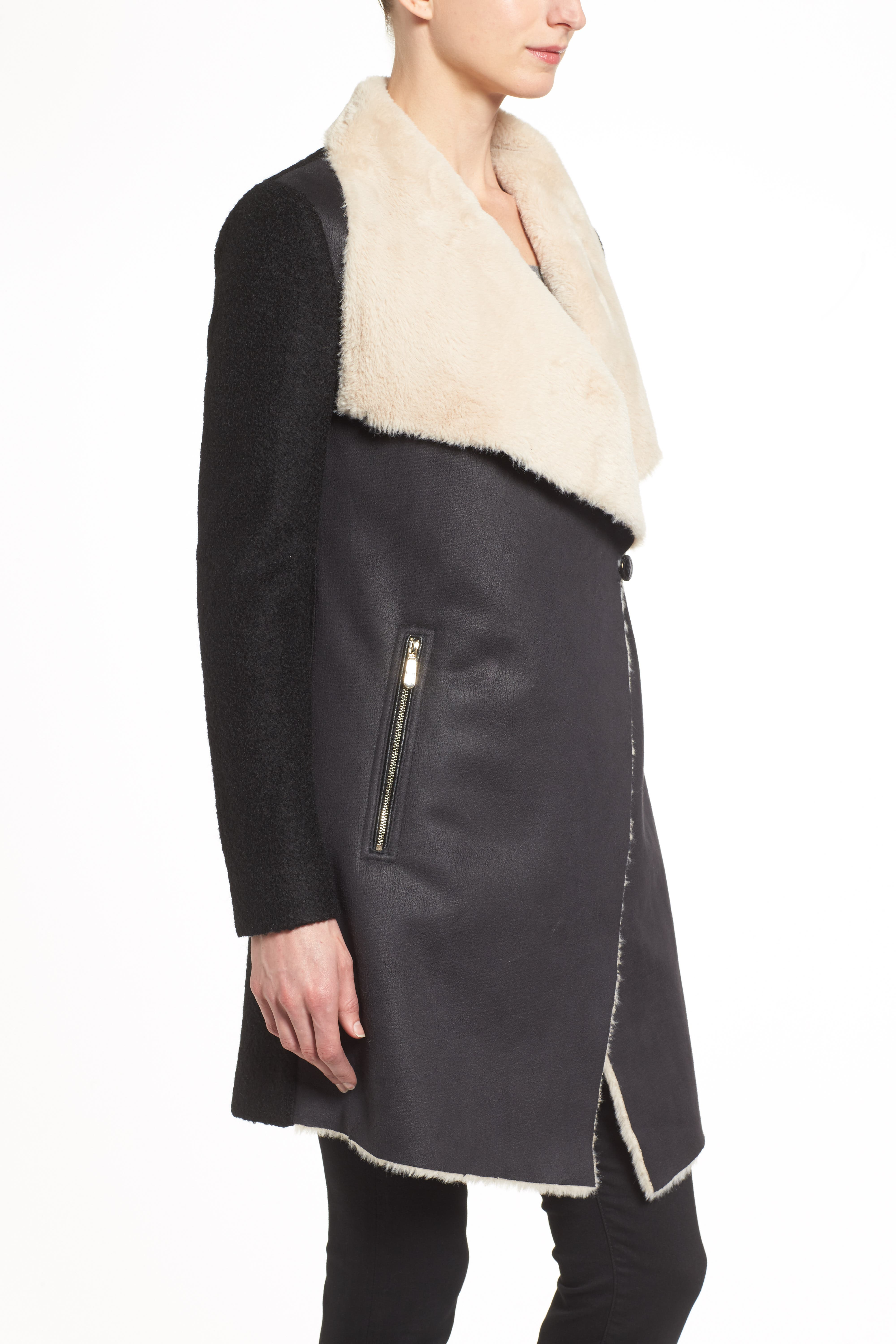 Mixed Media Coat with Faux Shearling Front,                             Alternate thumbnail 4, color,                             001