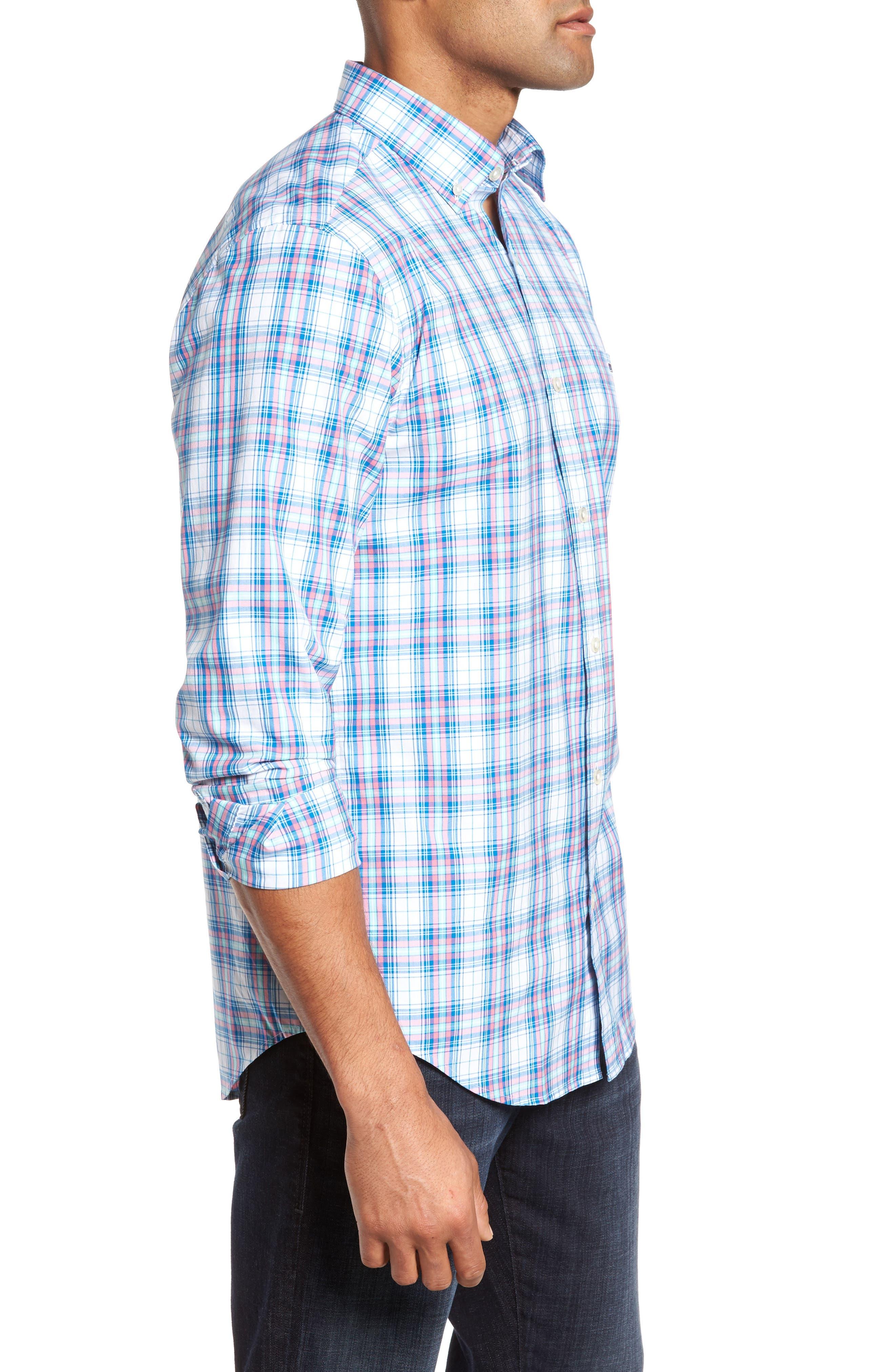 Tucker Sunset Pines Classic Fit Plaid Sport Shirt,                             Alternate thumbnail 3, color,                             650