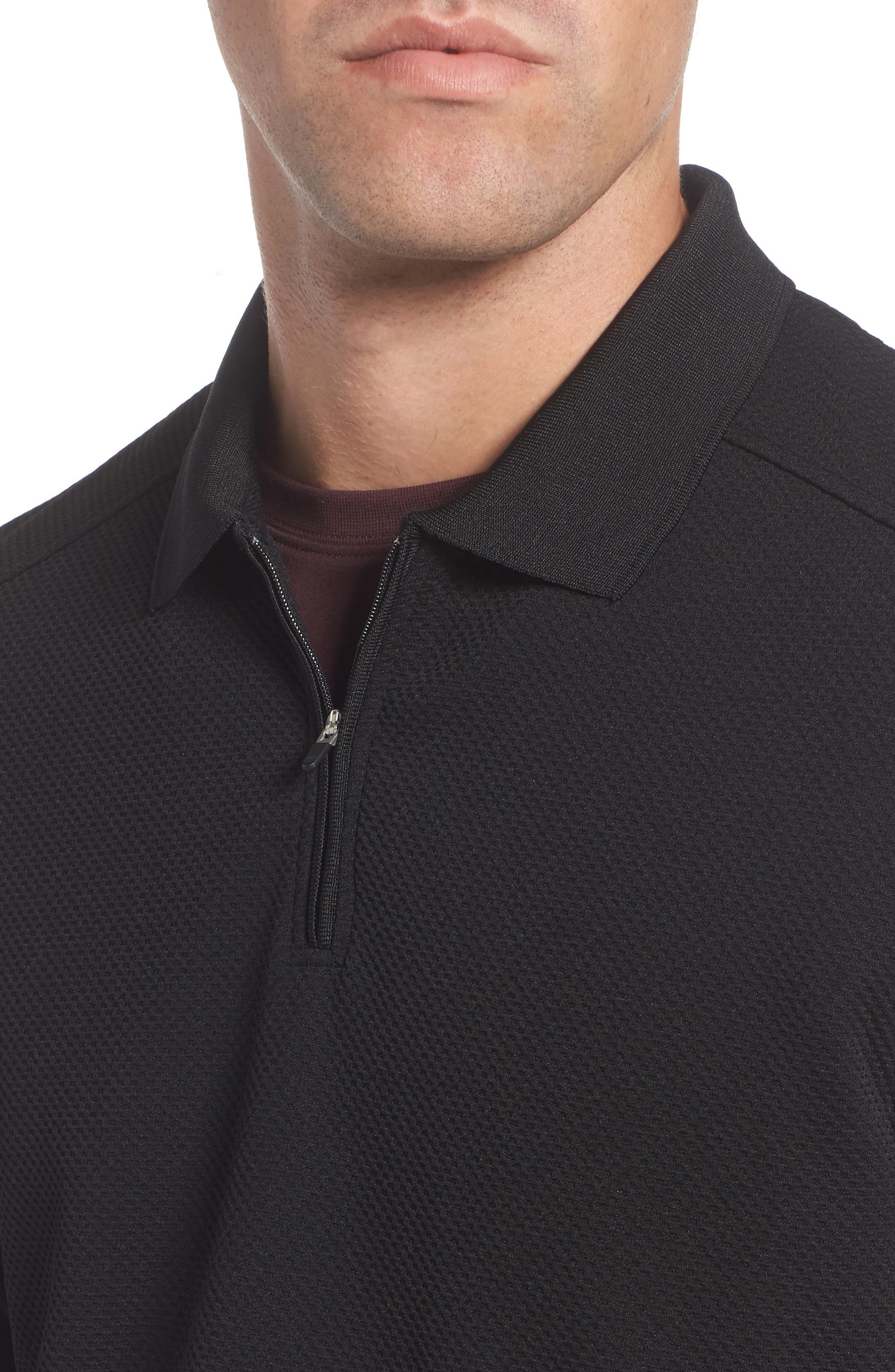 Long Sleeve Zip Polo,                             Alternate thumbnail 4, color,                             019