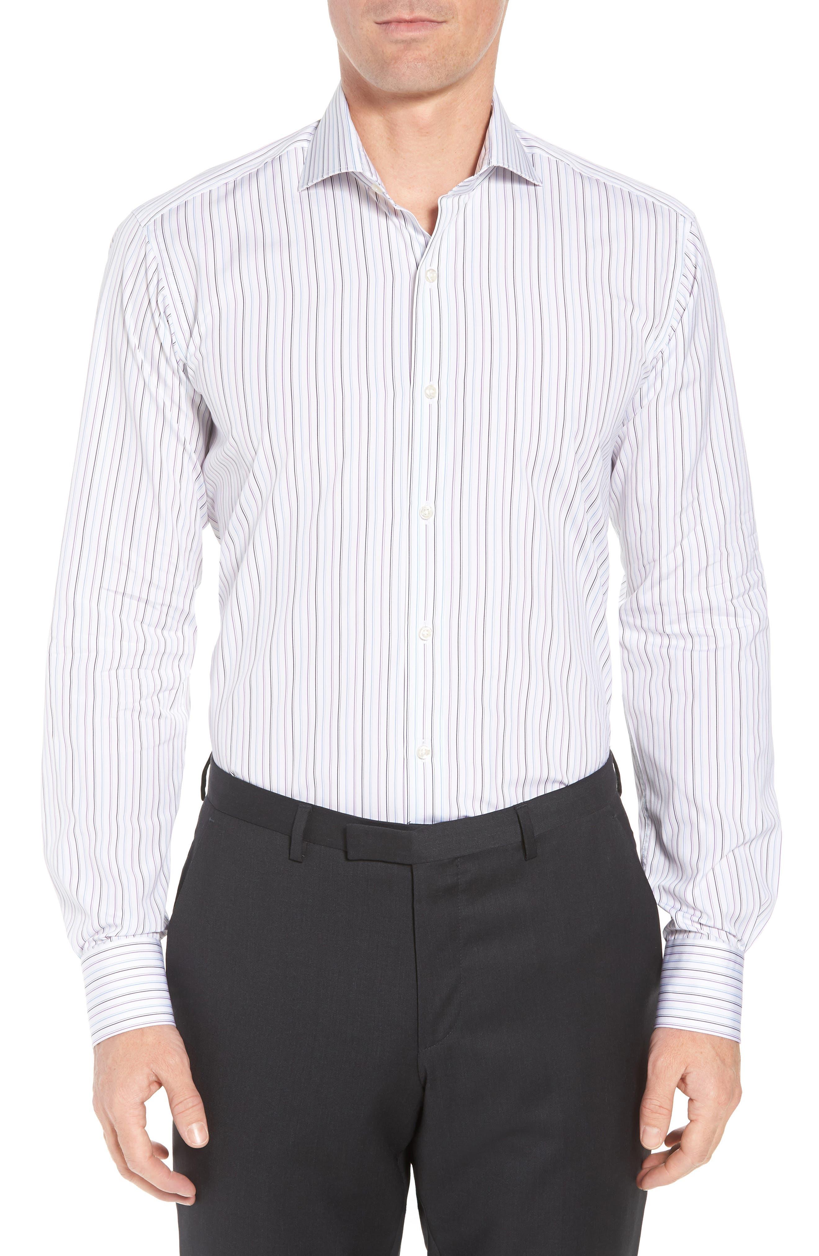 Regular Fit Stripe Dress Shirt,                         Main,                         color, WHITE/ BLUE/ PURPLE