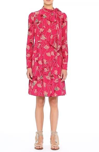 Lotus Print Silk Tie Neck Dress, video thumbnail