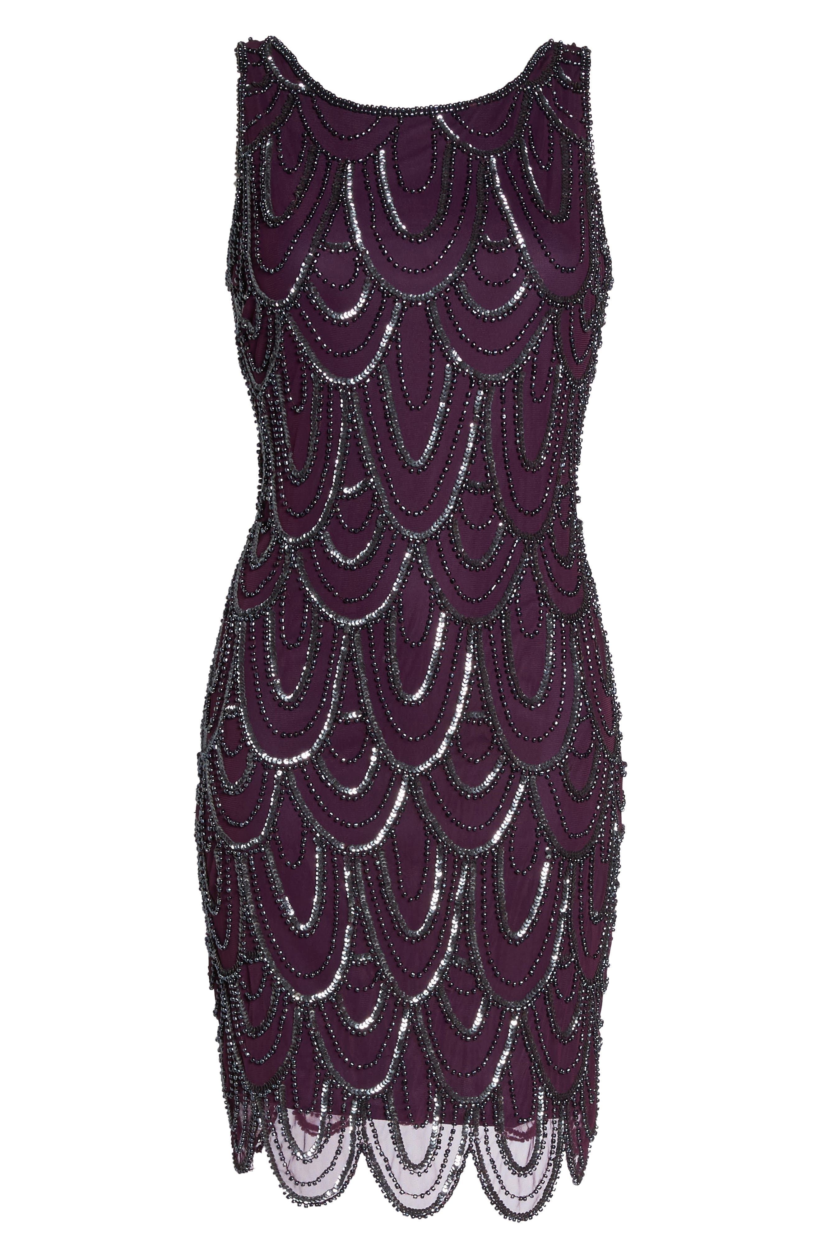 Embellished Mesh Sheath Dress,                             Alternate thumbnail 105, color,