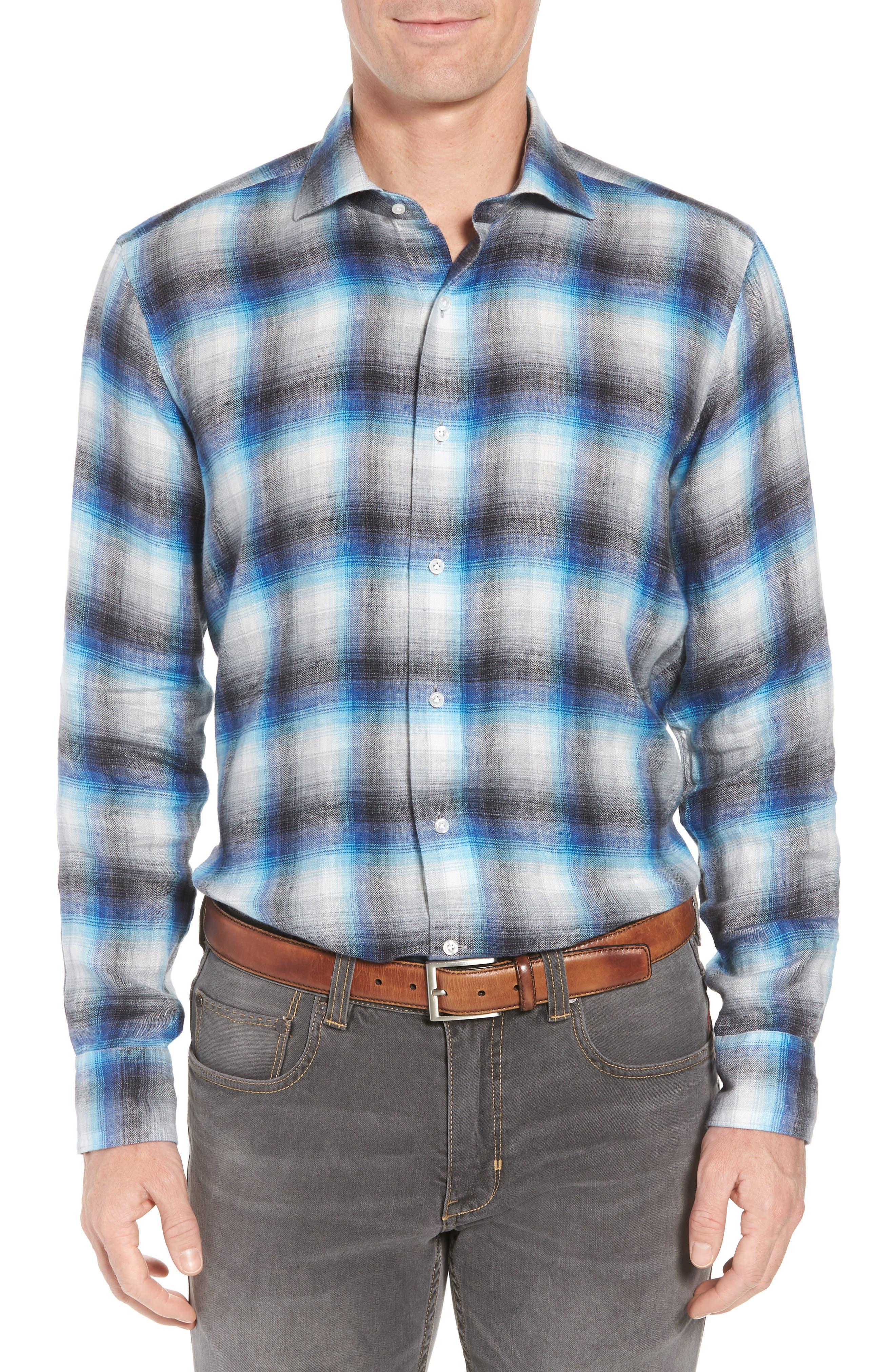 Bisti Regular Fit Plaid Linen Sport Shirt,                         Main,                         color, BARCHETTA