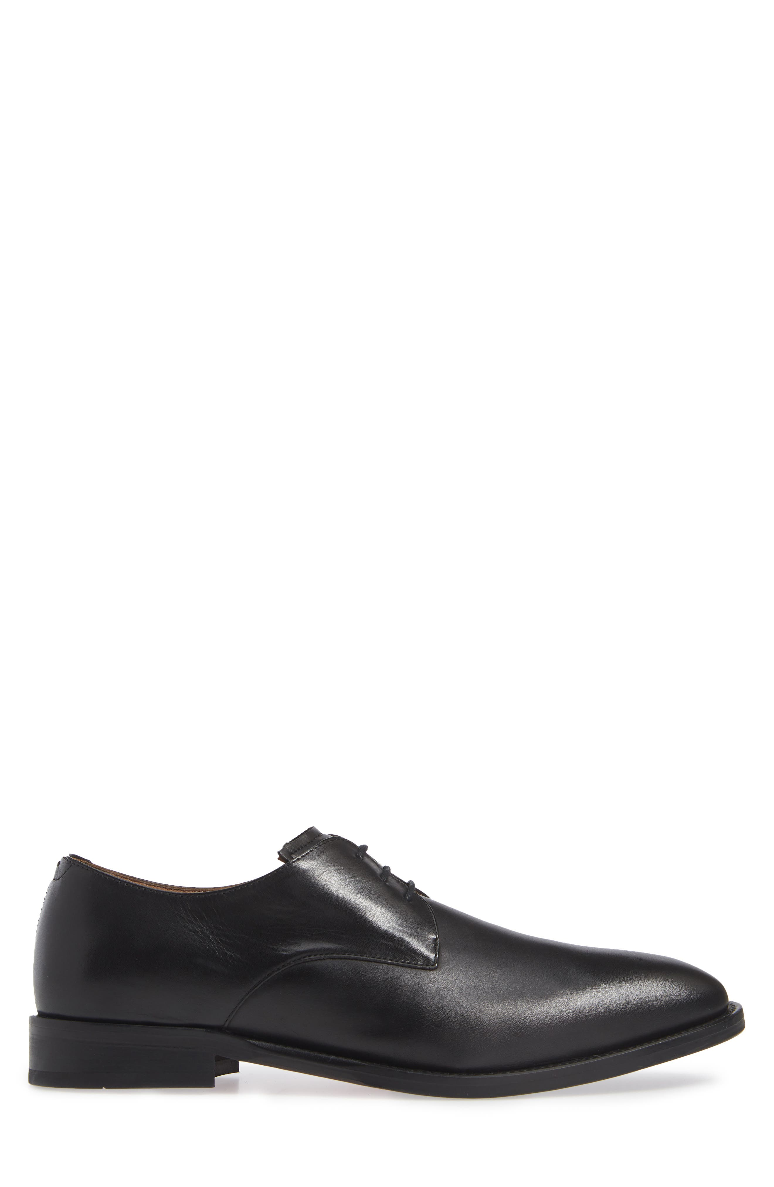 Hasper Plain Toe Derby,                             Alternate thumbnail 3, color,                             BLACK LEATHER