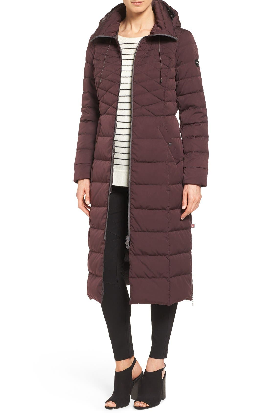 Quilted Long Coat with Down & PrimaLoft<sup>®</sup> Fill,                             Main thumbnail 1, color,                             DARK PLUM