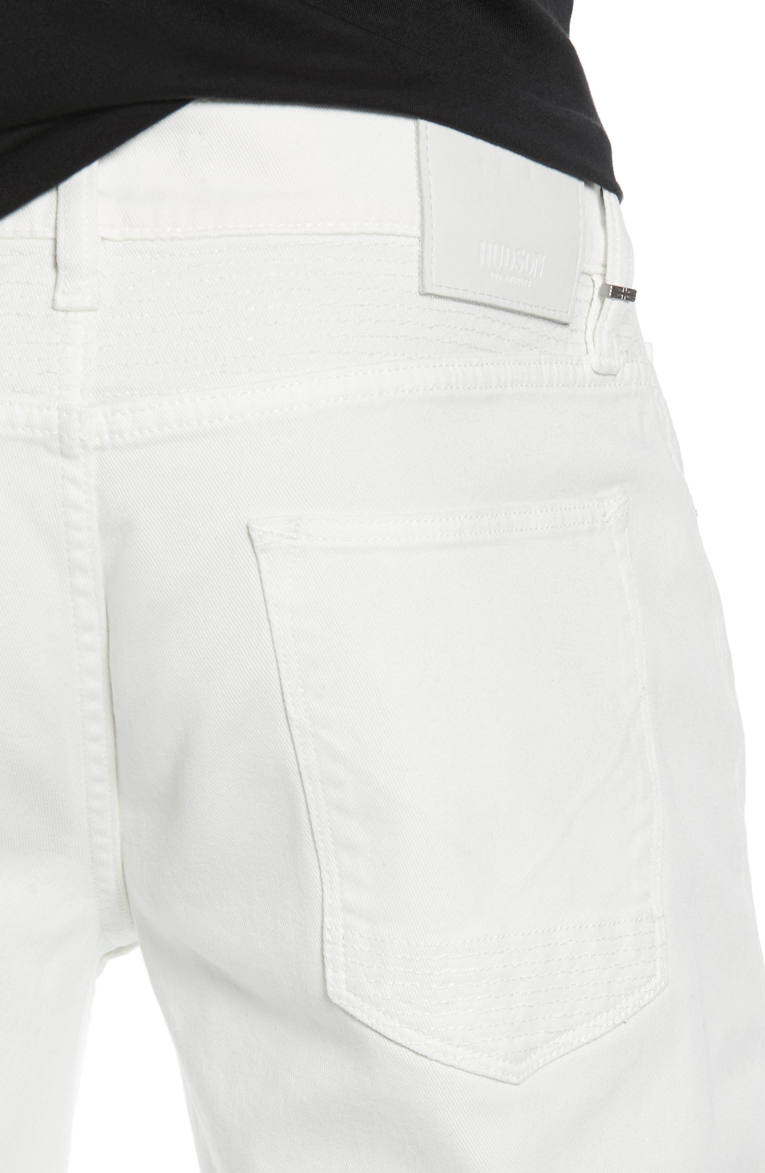 Blinder Biker Skinny Fit Jeans,                             Alternate thumbnail 4, color,                             DIRTY WHITE