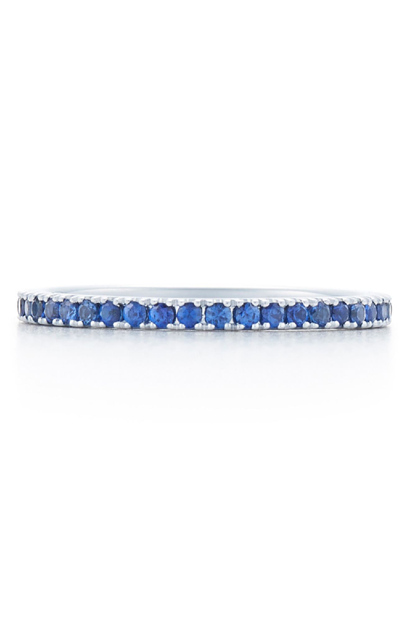 Blue Sapphire Stackable Ring,                             Main thumbnail 1, color,                             WHITE GOLD
