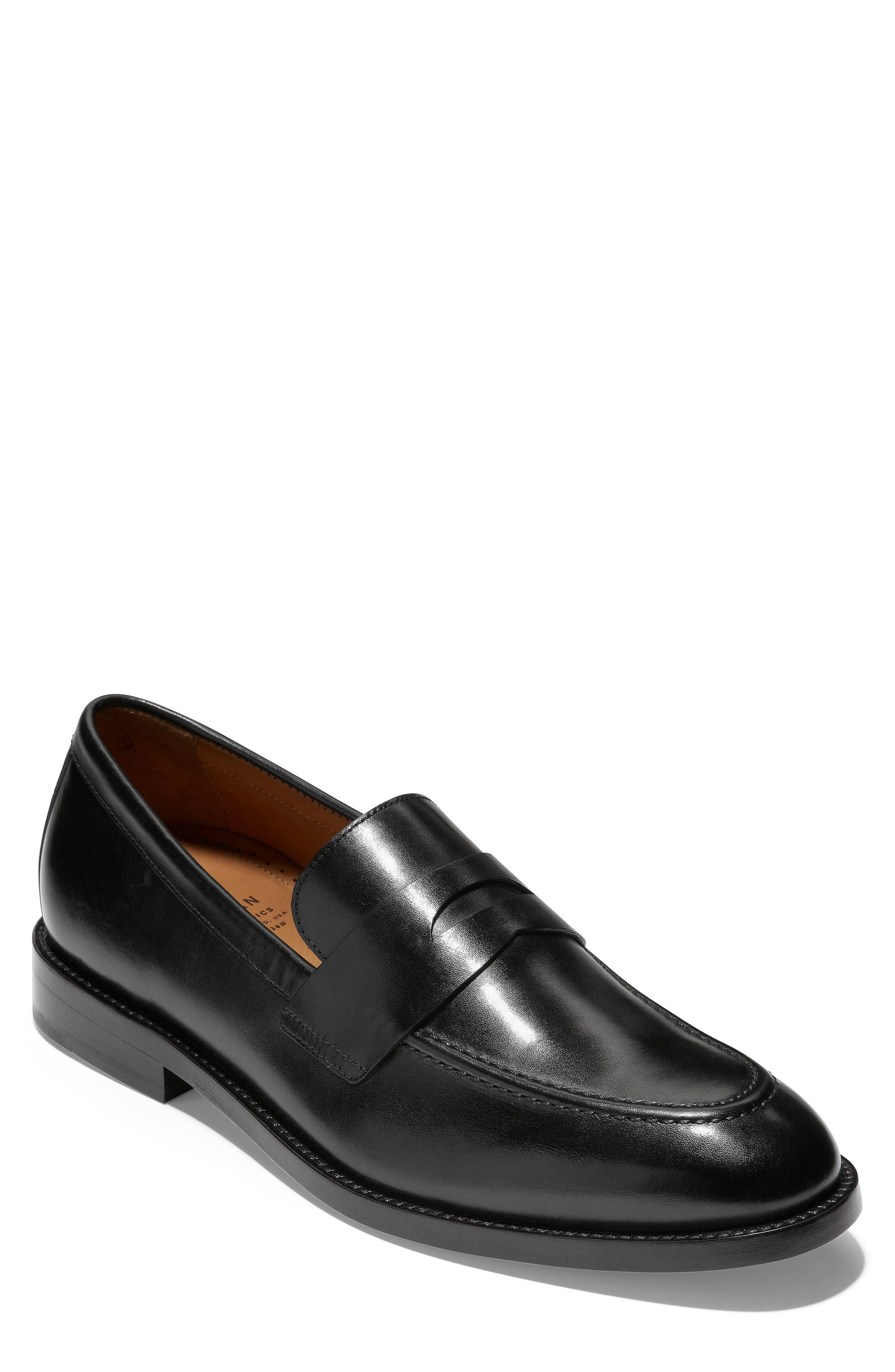 American Classics Kneeland Penny Loafer,                             Main thumbnail 1, color,                             BLACK LEATHER
