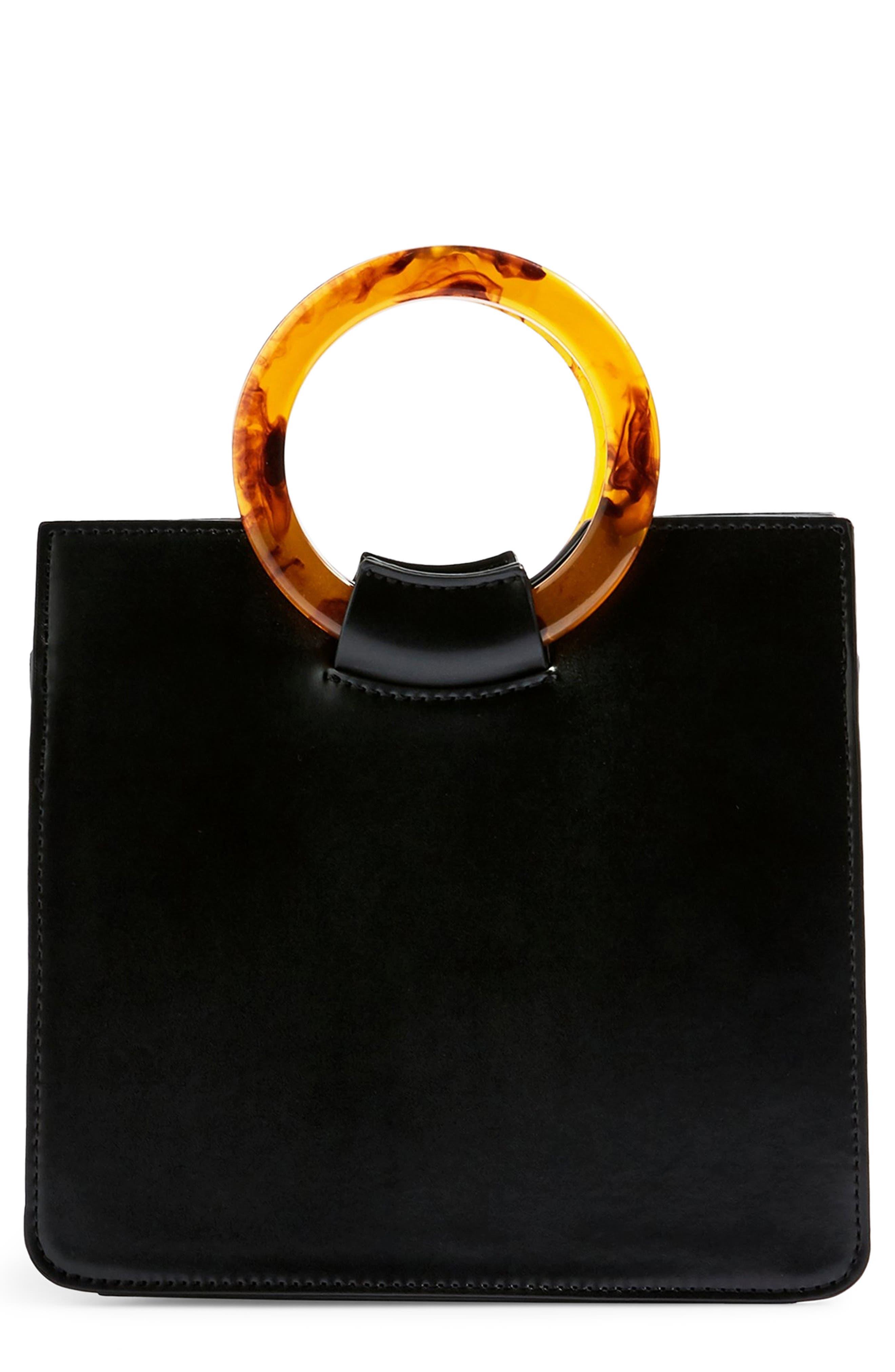 Topshop Mini Adele Faux Leather Top Handle Bag - Black 76e0fa4e0e25c