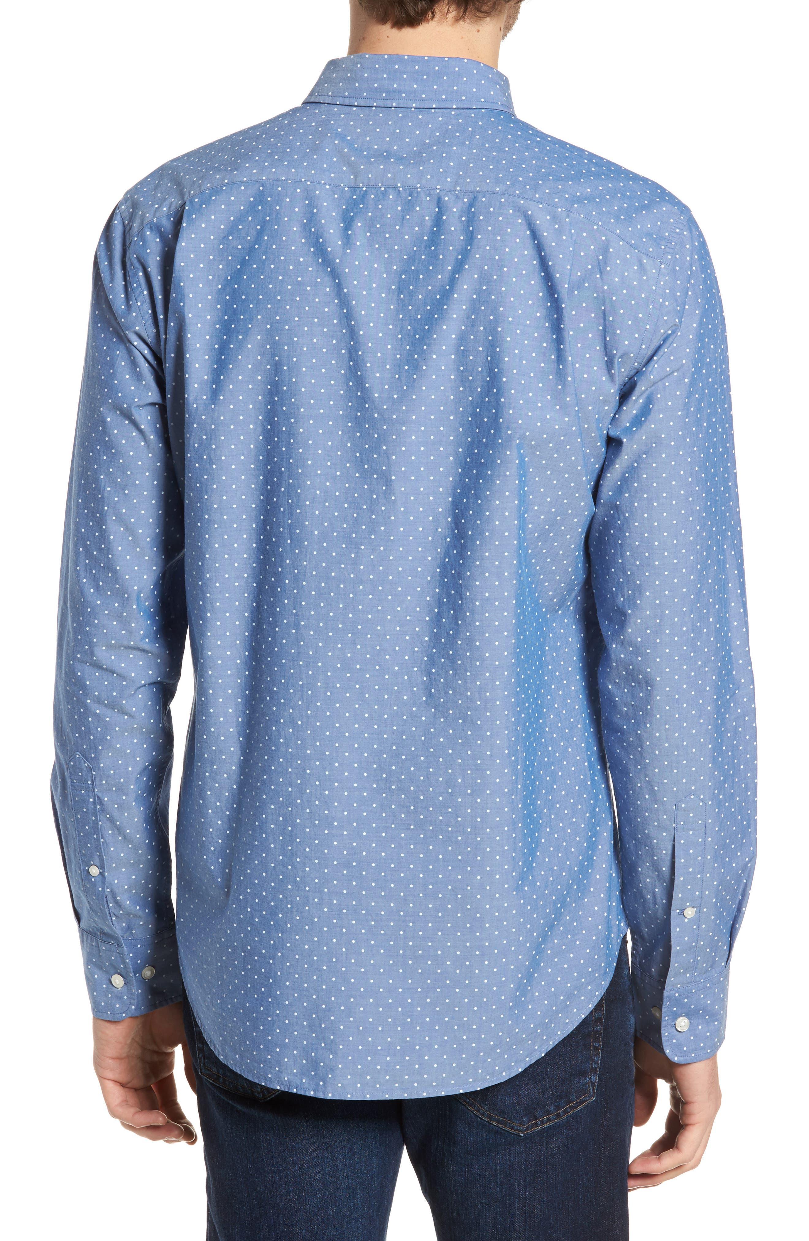 Slim Fit Summerweight Dot Sport Shirt,                             Alternate thumbnail 2, color,