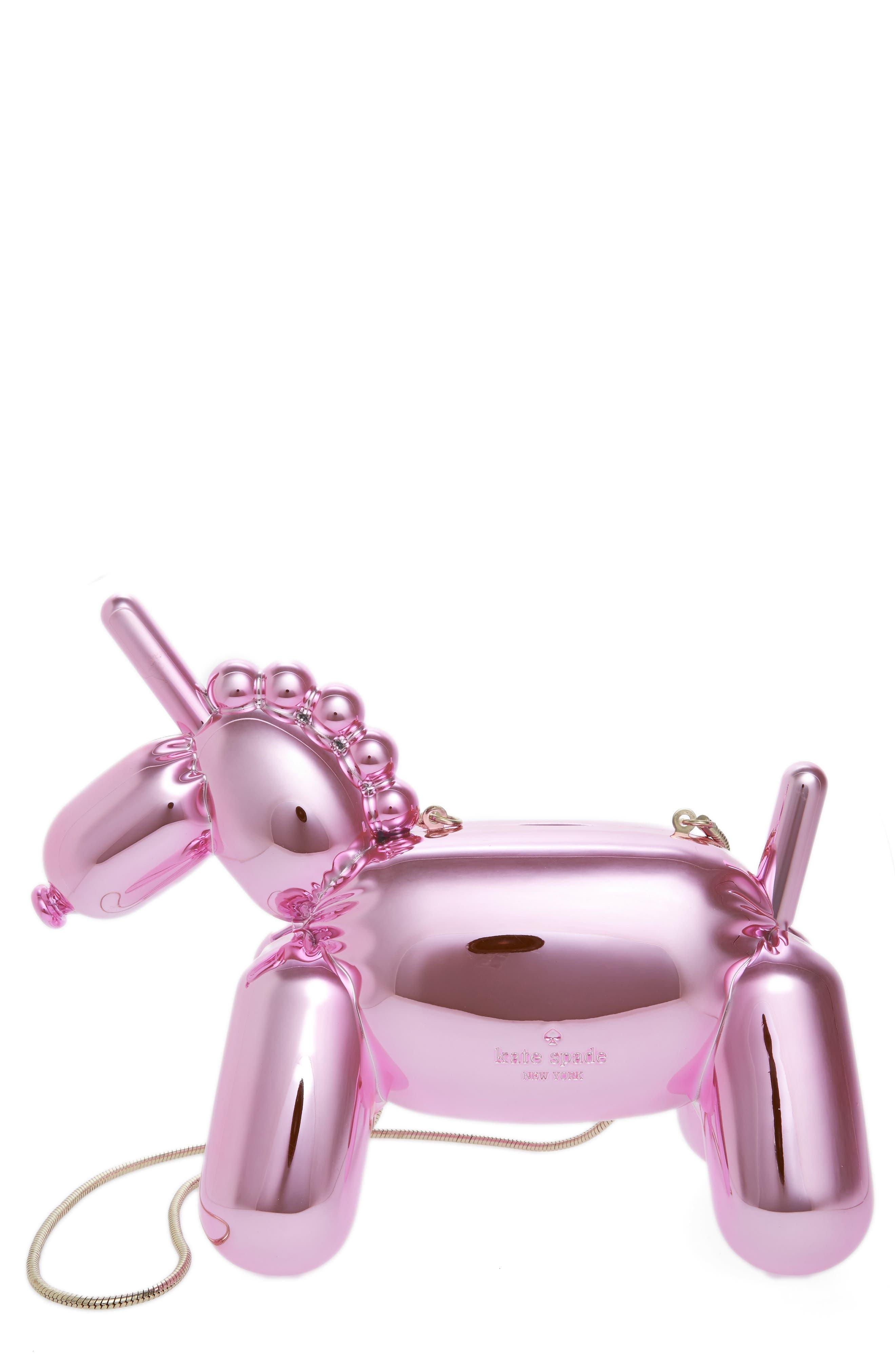 unicorn balloon clutch, Main, color, 104