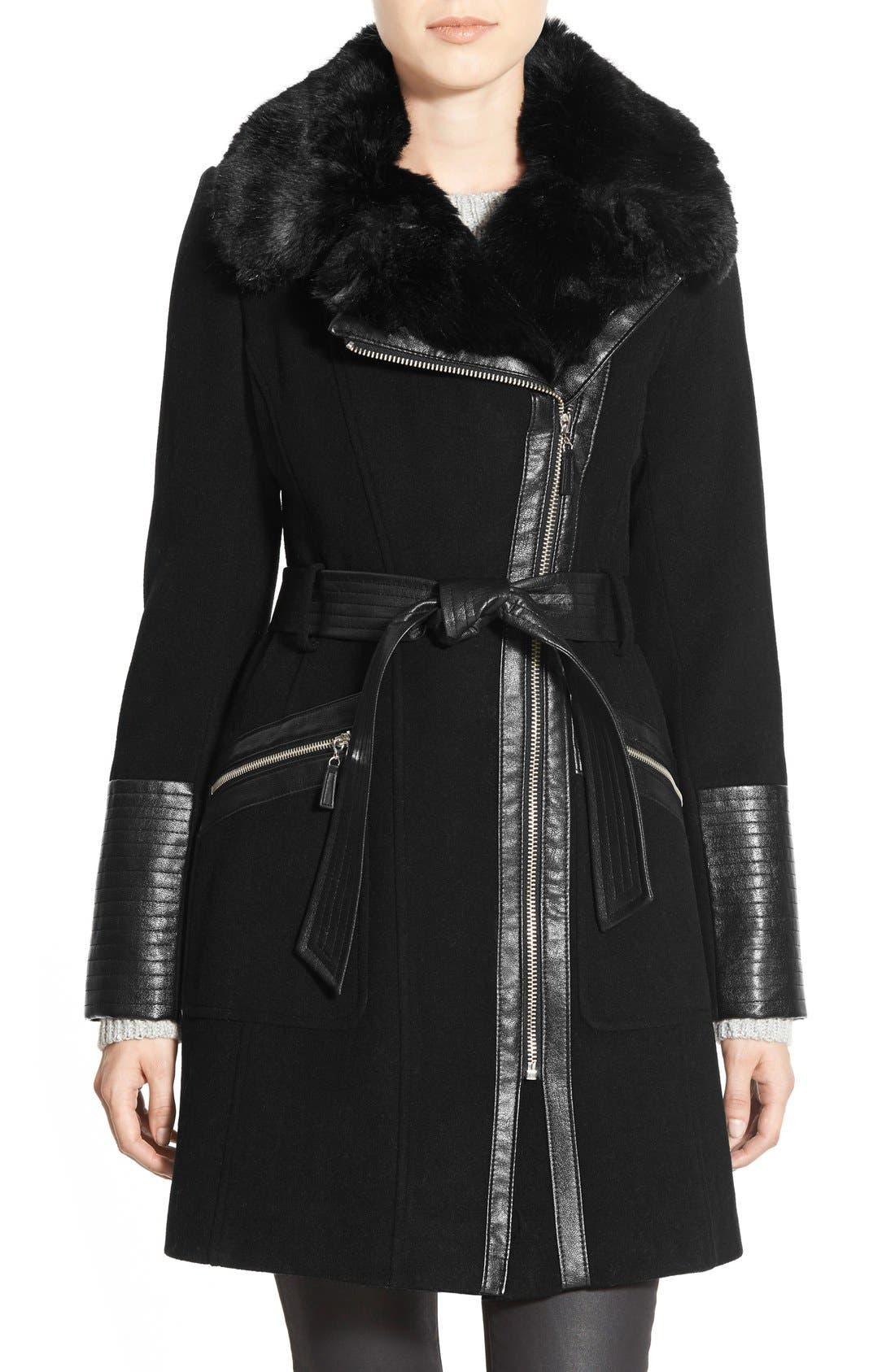 Faux Leather & Faux Fur Trim Belted Wool Blend Coat,                         Main,                         color,