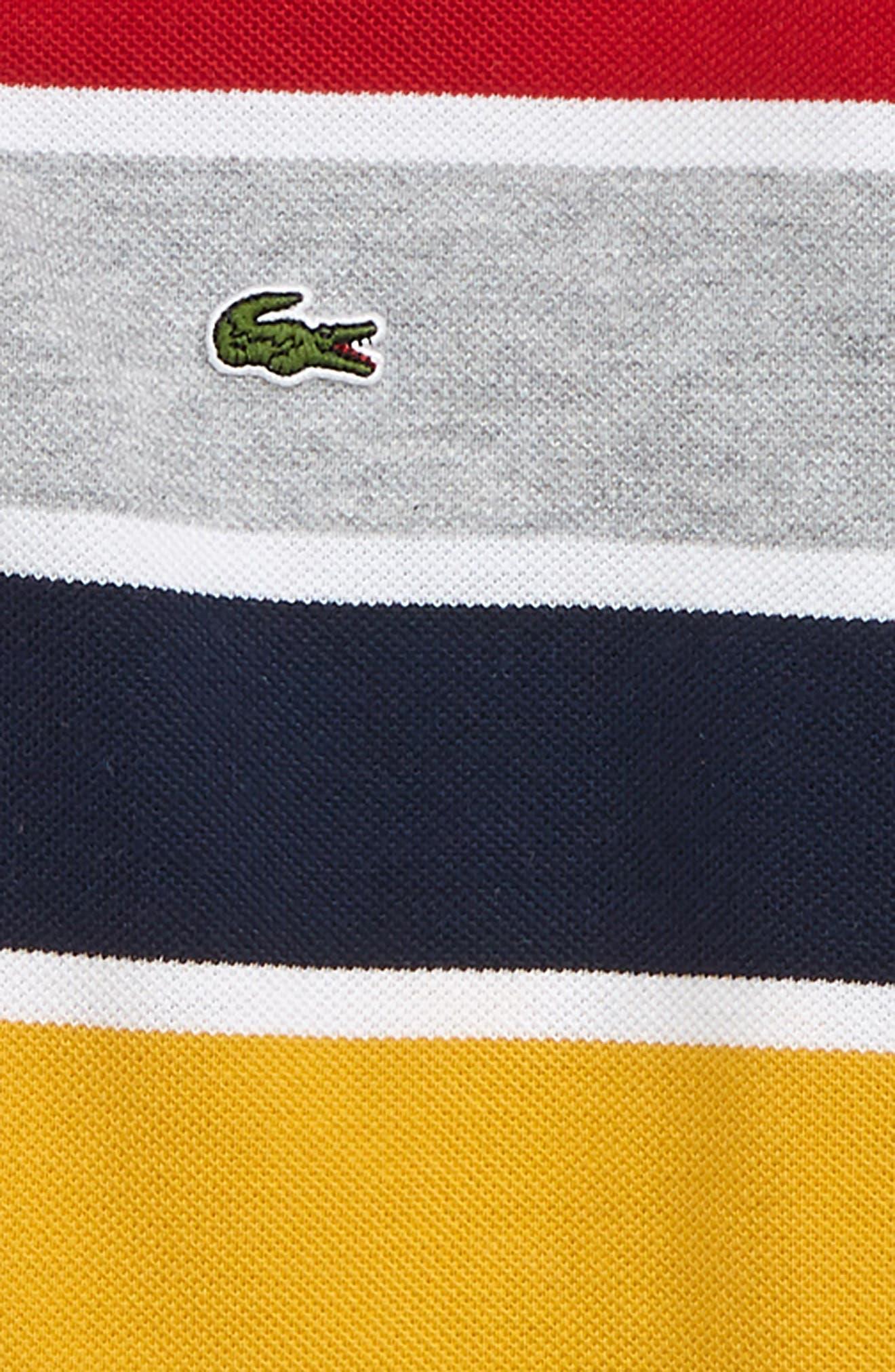 Multicolor Stripe Piqué Polo,                             Alternate thumbnail 2, color,                             WHITE/ RED
