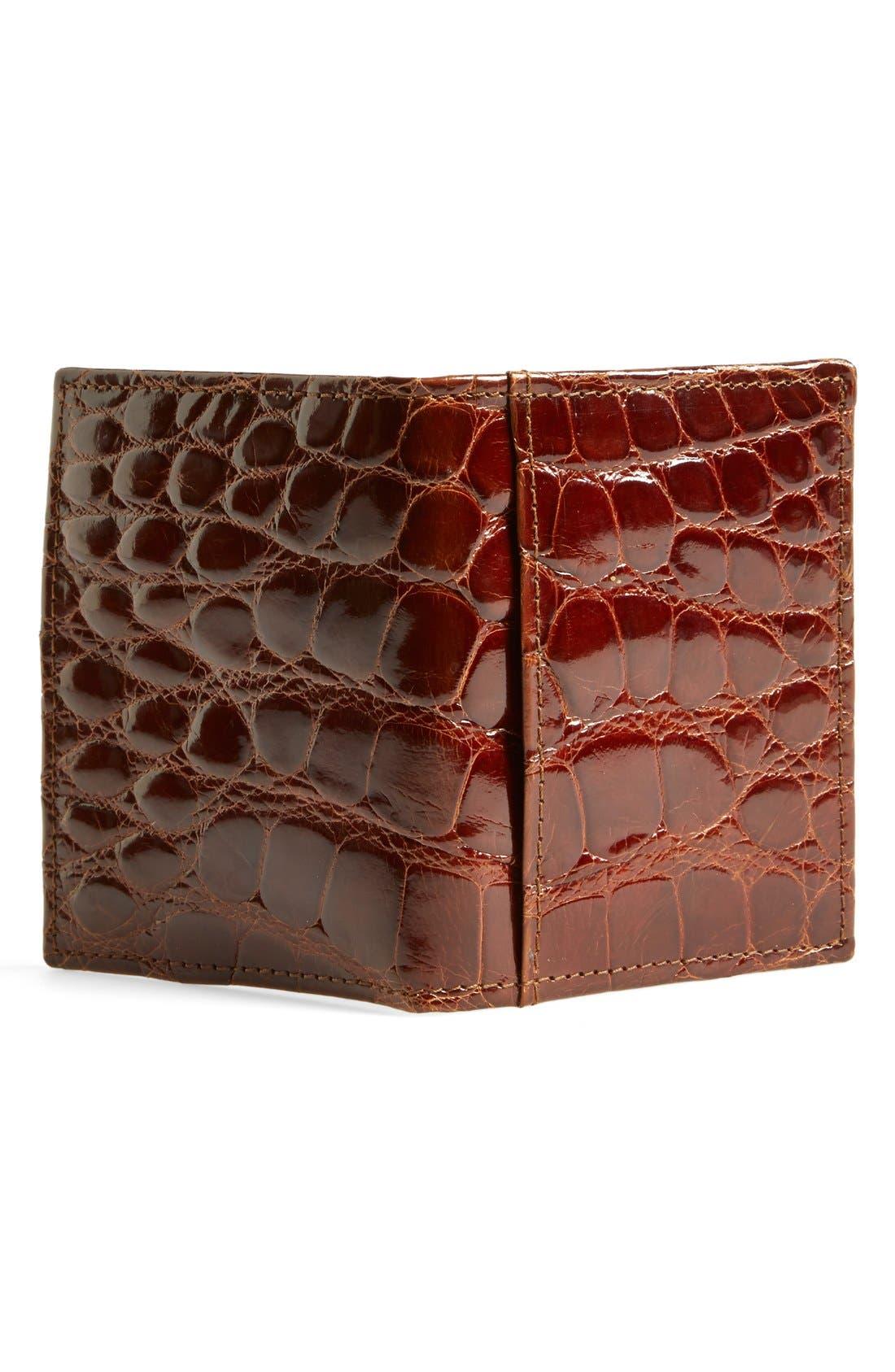 'Joseph' Genuine American Alligator Leather ID Wallet,                             Alternate thumbnail 2, color,                             COGNAC