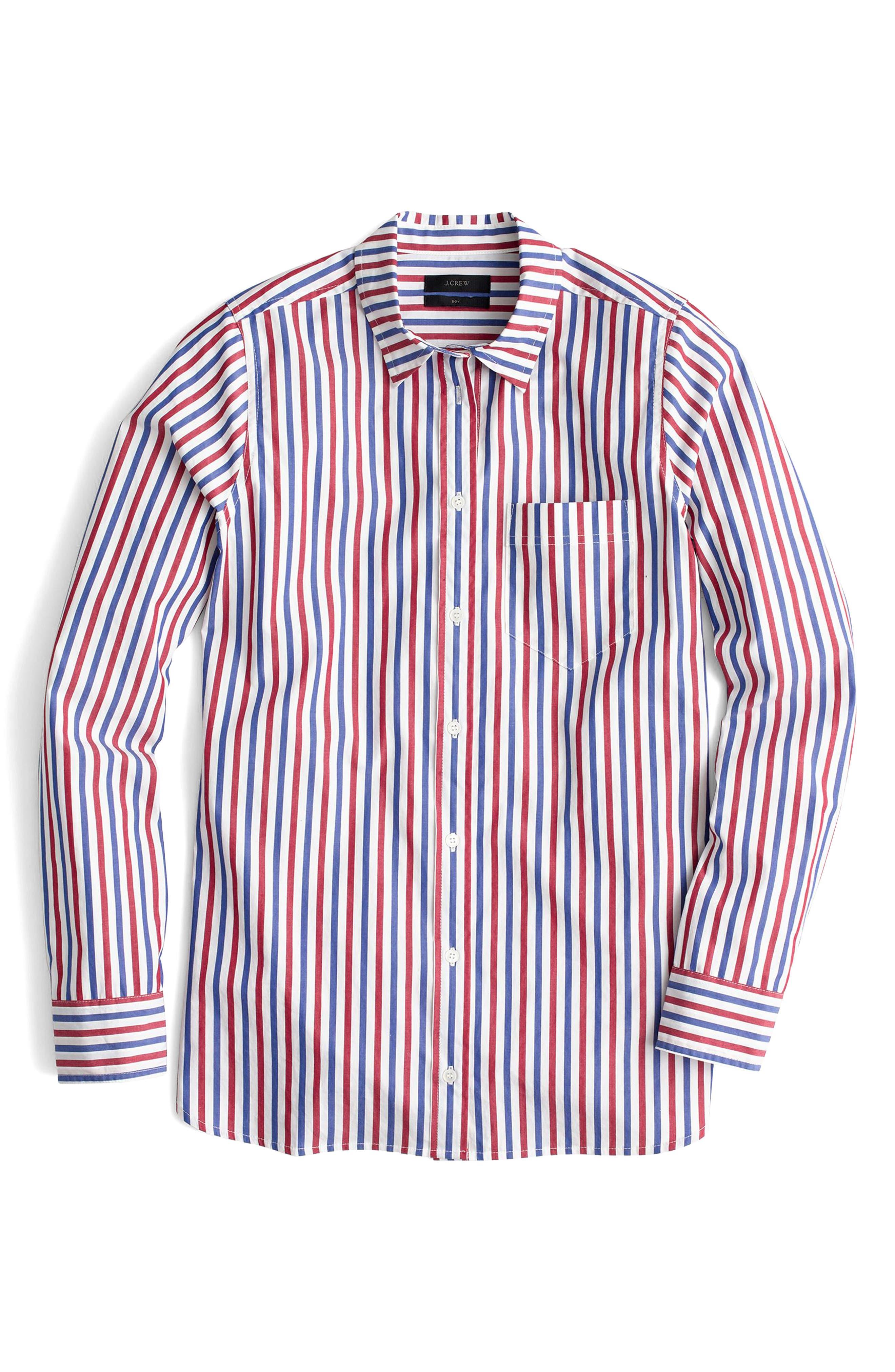 J. Crew Stripe Boyfriend Shirt,                             Alternate thumbnail 2, color,                             600