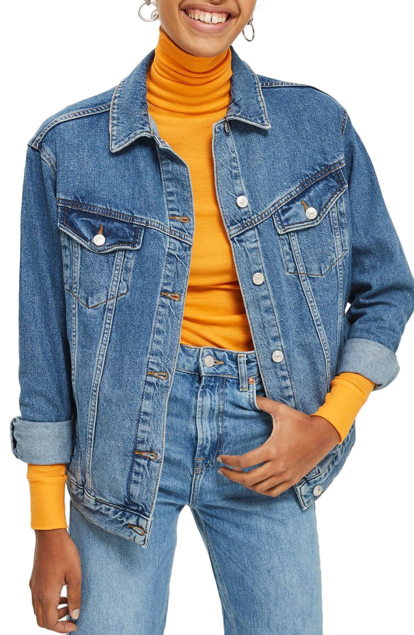 Oversize Denim Jacket,                             Main thumbnail 1, color,                             MID STONE