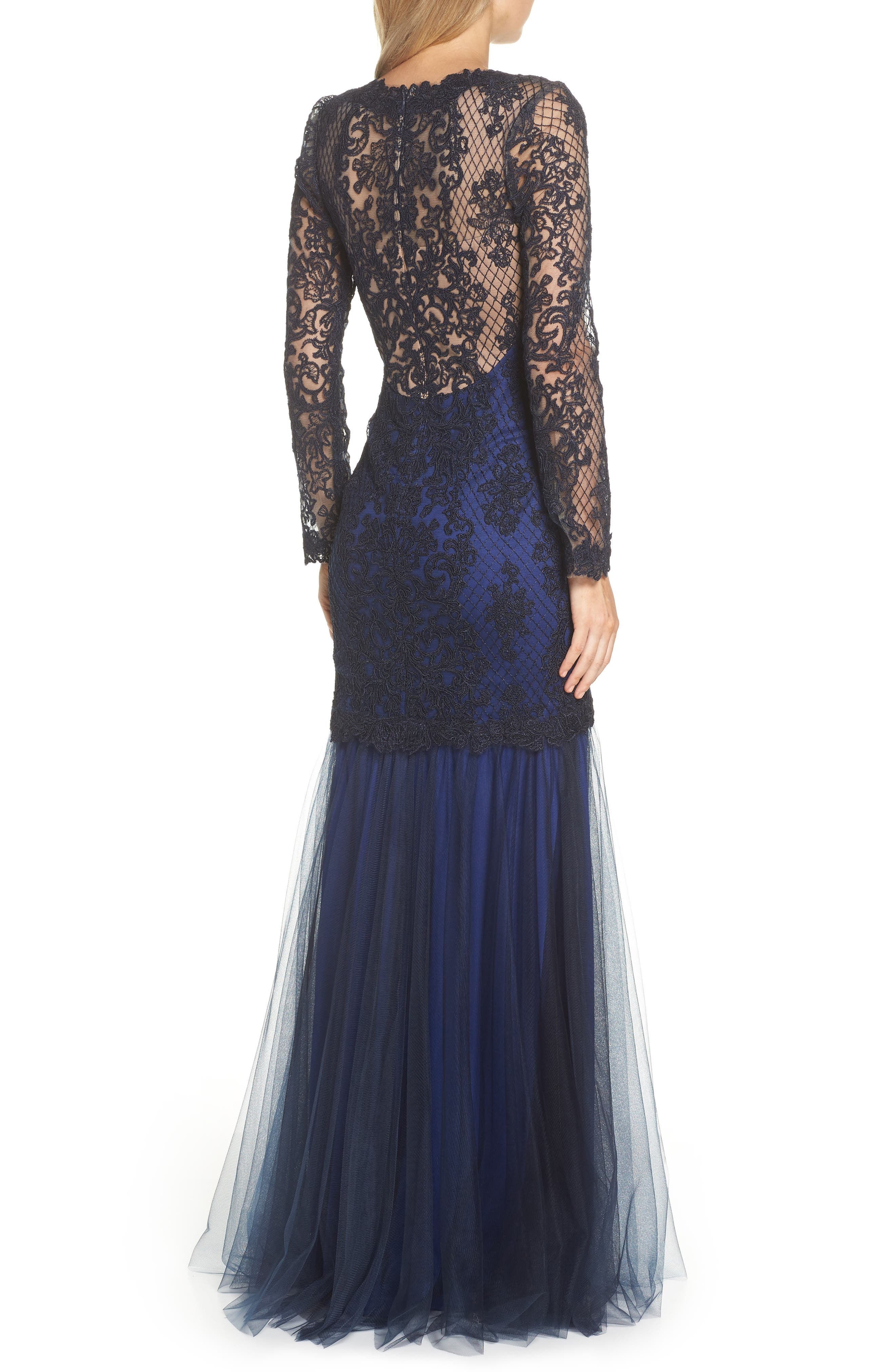 Corded Lace & Tulle Gown,                             Alternate thumbnail 2, color,                             NAVY