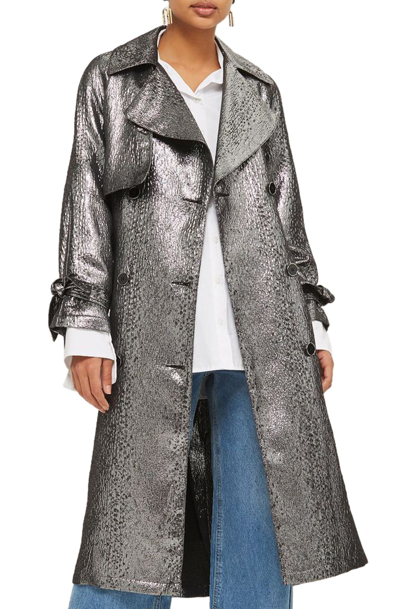 Metallic Trench Coat,                             Main thumbnail 1, color,                             043