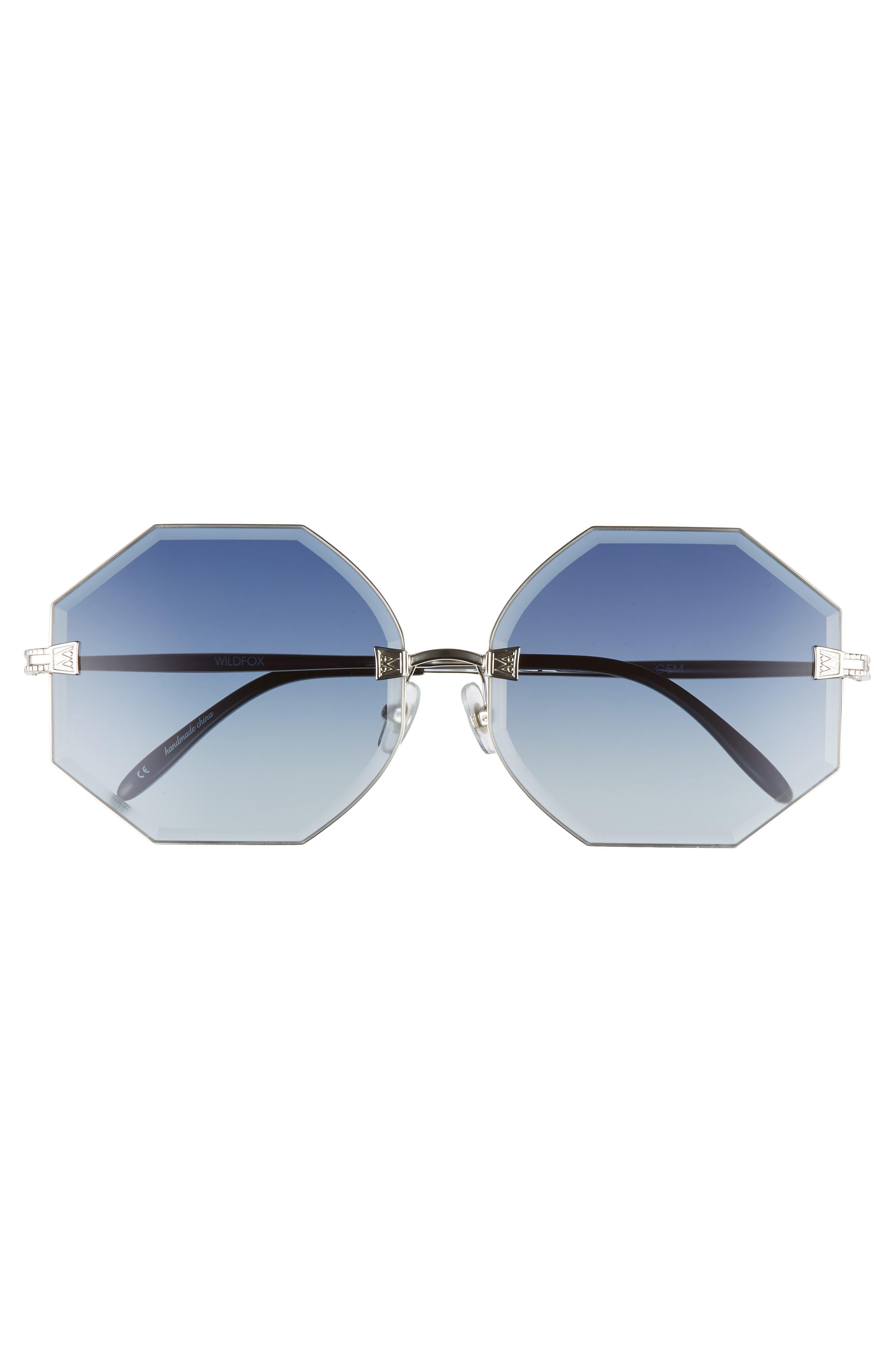 Gem 64mm Oversize Geometric Sunglasses,                             Alternate thumbnail 3, color,                             040
