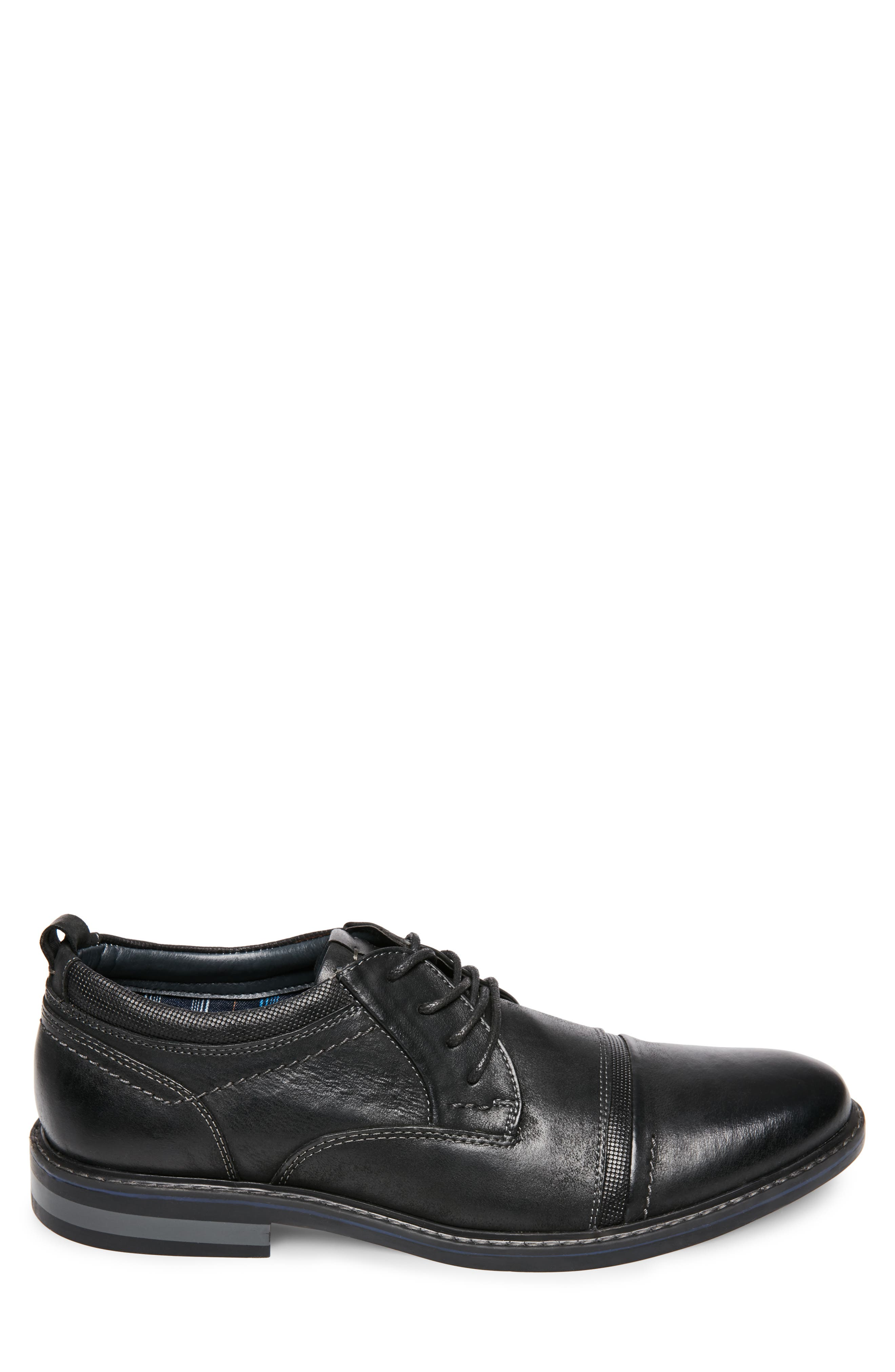 O'Leary Cap Toe Derby,                             Alternate thumbnail 3, color,                             BLACK LEATHER