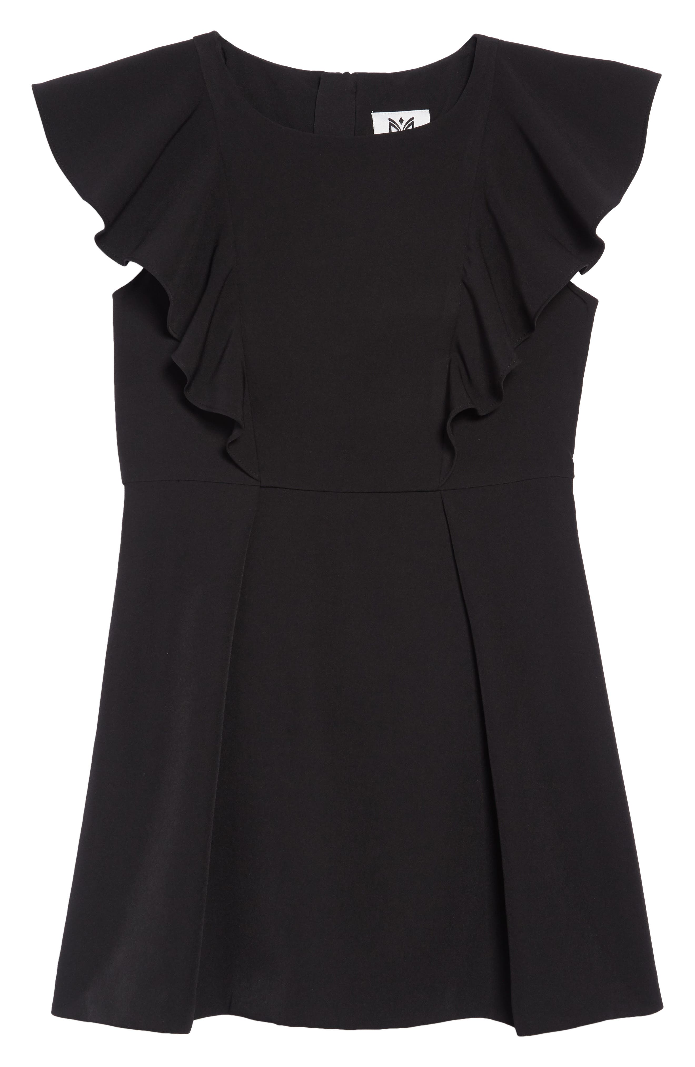 Ruffle Cady Dress,                         Main,                         color, BLACK