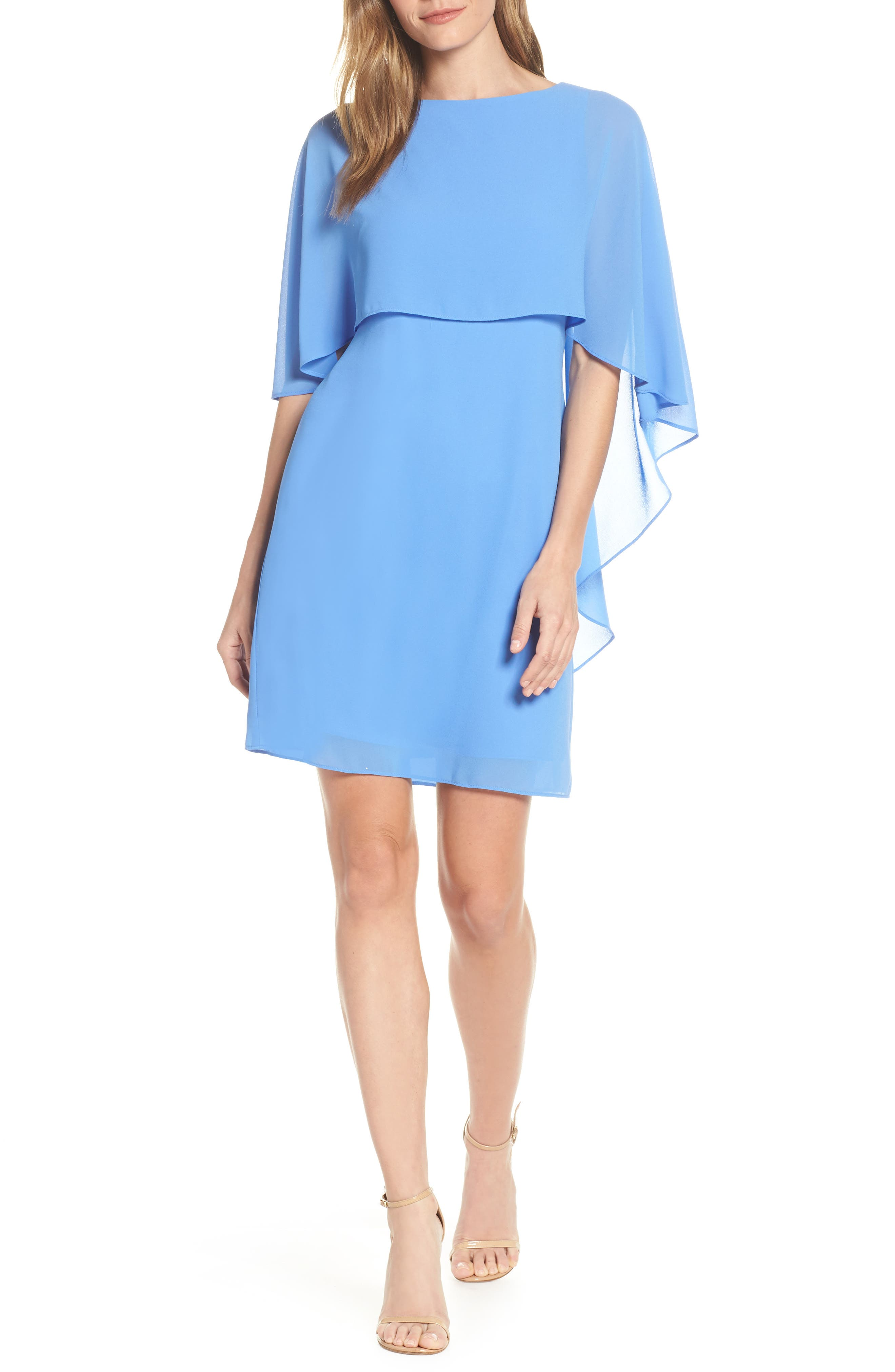 VINCE CAMUTO Cape Overlay Dress, Main, color, PERIWINKLE