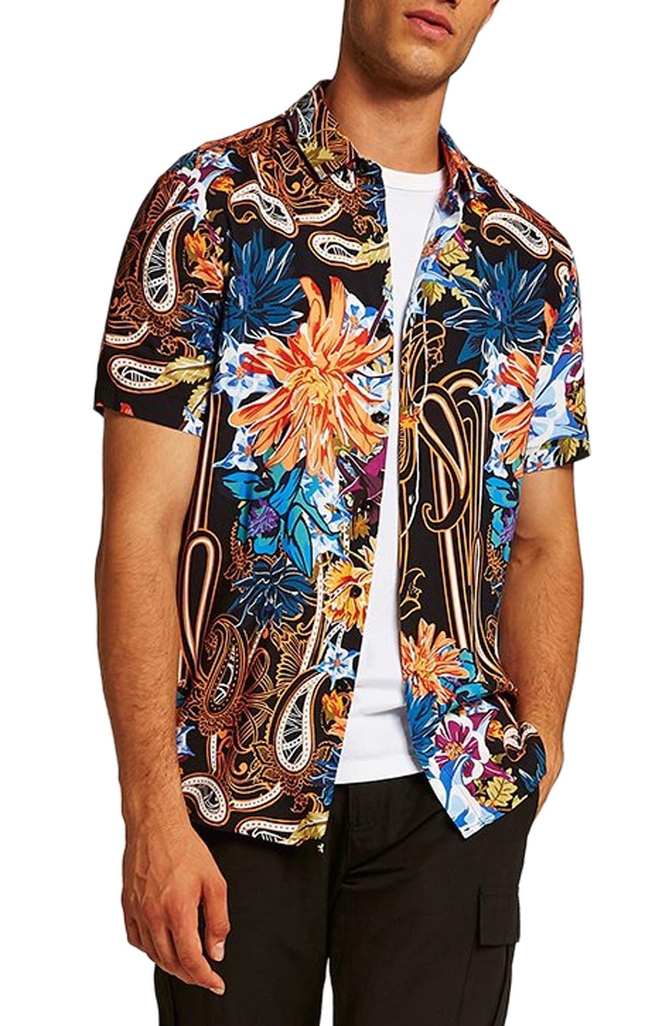 Floral Paisley Shirt,                             Main thumbnail 1, color,                             BLACK MULTI