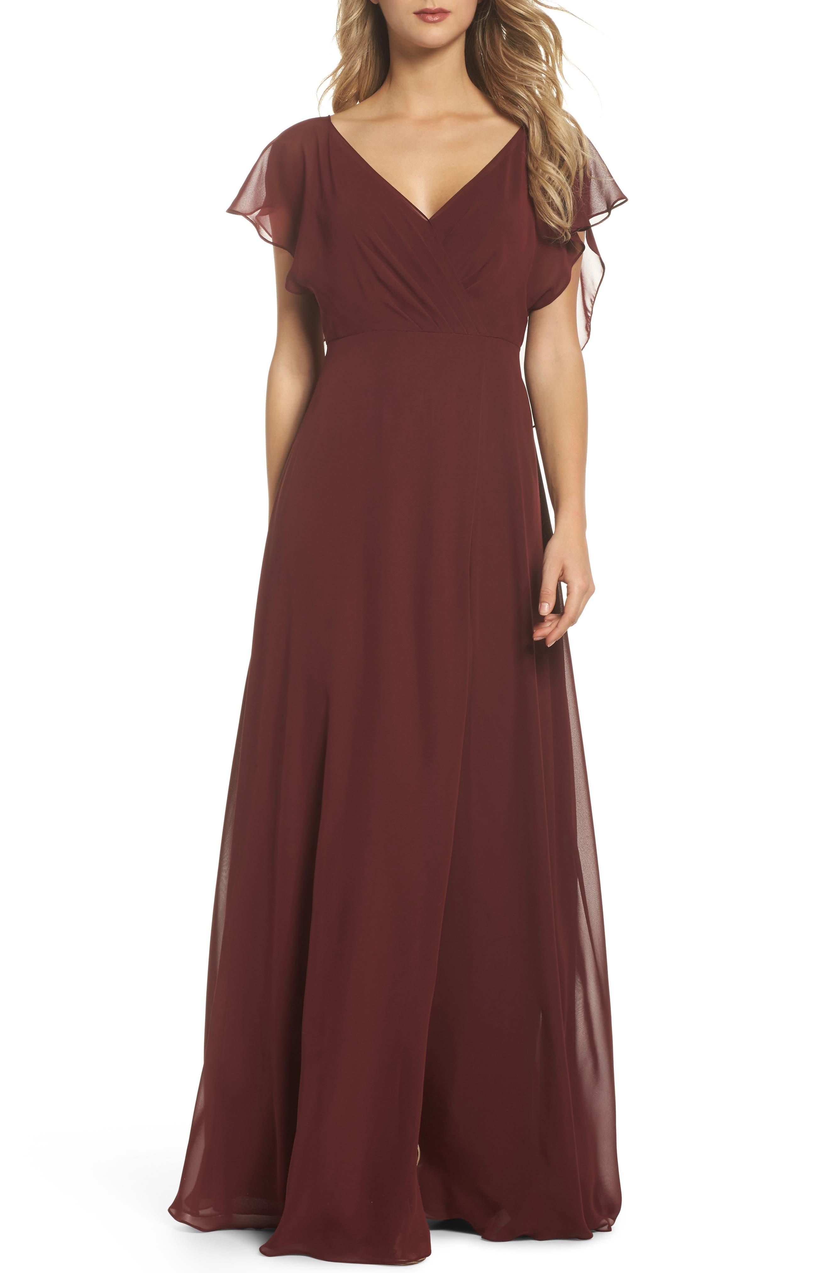 JENNY YOO Alanna Open Back Chiffon Gown, Main, color, 932