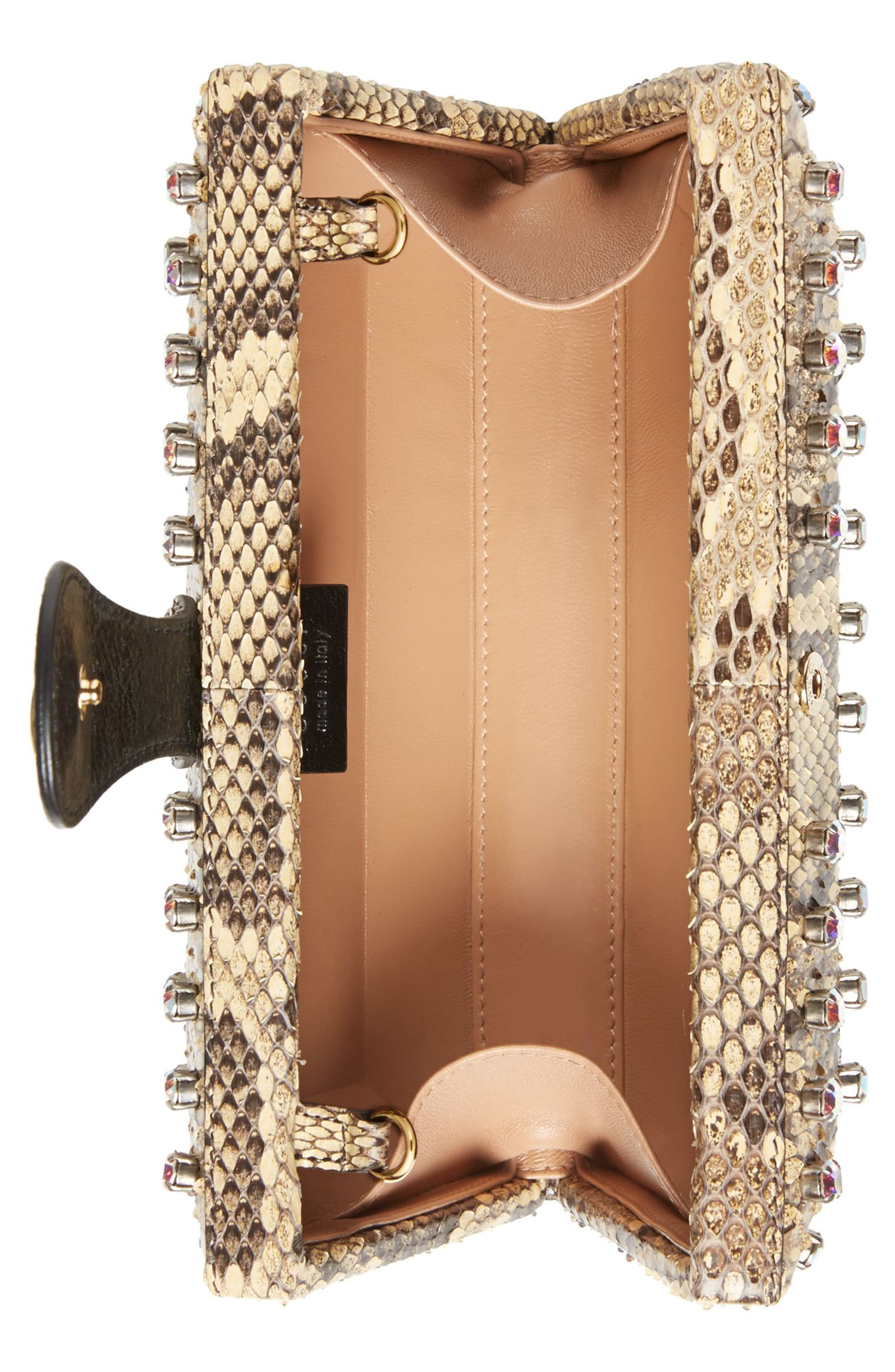 Broadway Genuine Python Minaudière,                             Alternate thumbnail 3, color,                             BEIGE/ NATURAL YELLOW/ CRYSTAL