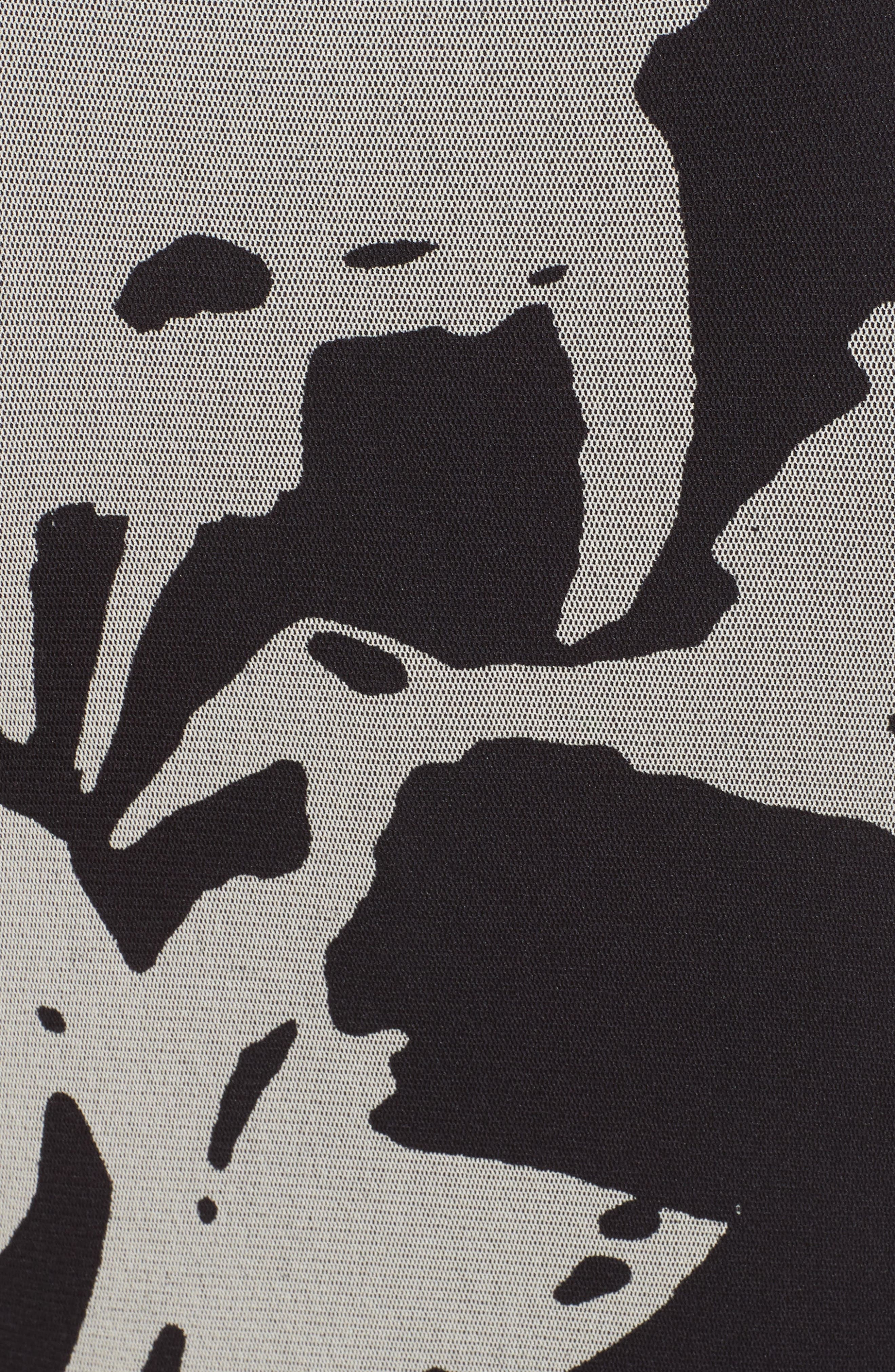 Bicolor Floral Print Tulle Maxi Dress,                             Alternate thumbnail 5, color,                             001