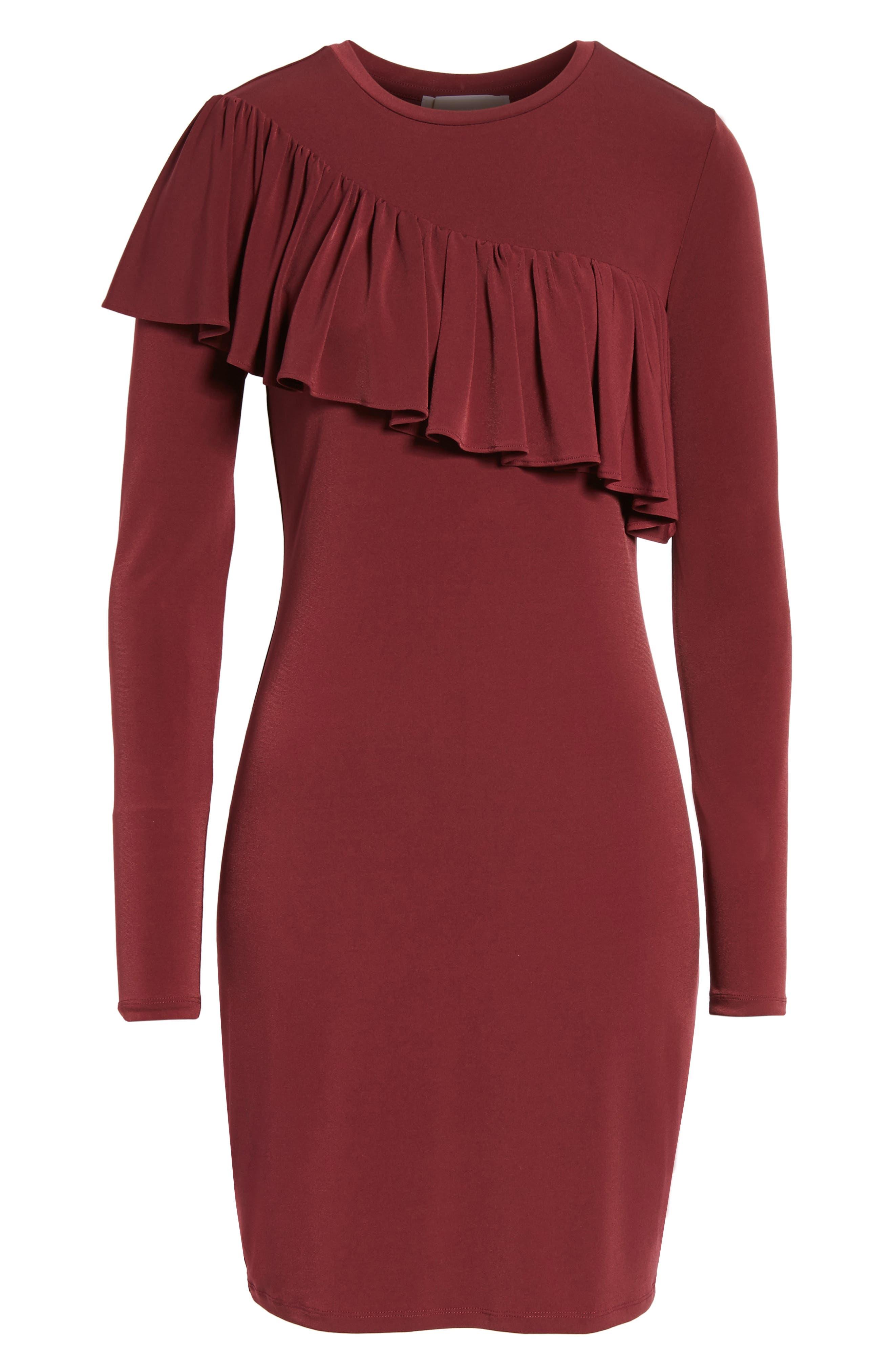 Long Sleeve Ruffle Dress,                             Alternate thumbnail 6, color,                             633