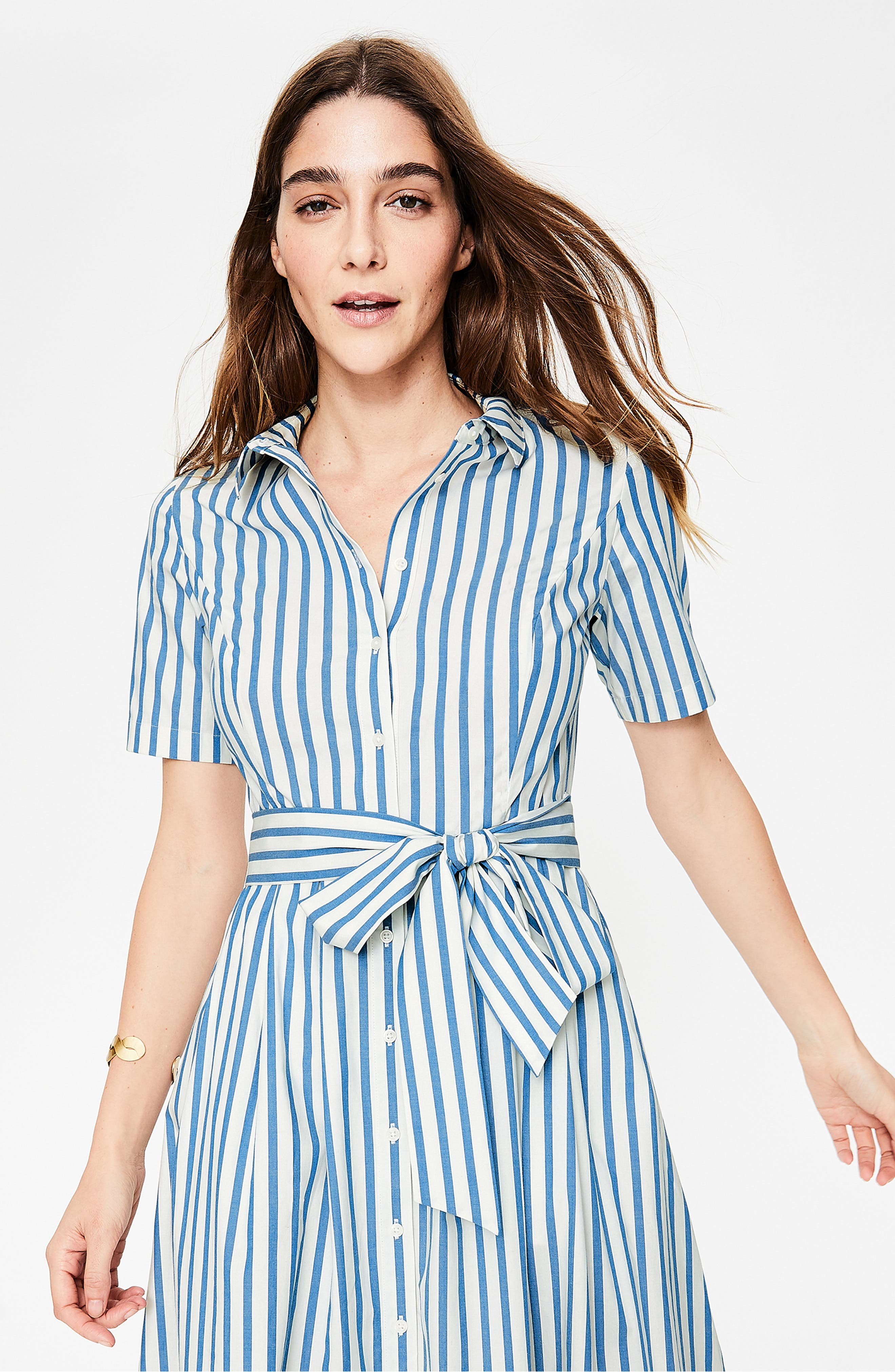 Anastasia Tie Front Shirtdress,                             Alternate thumbnail 3, color,                             IVORY AND CYAN STRIPE