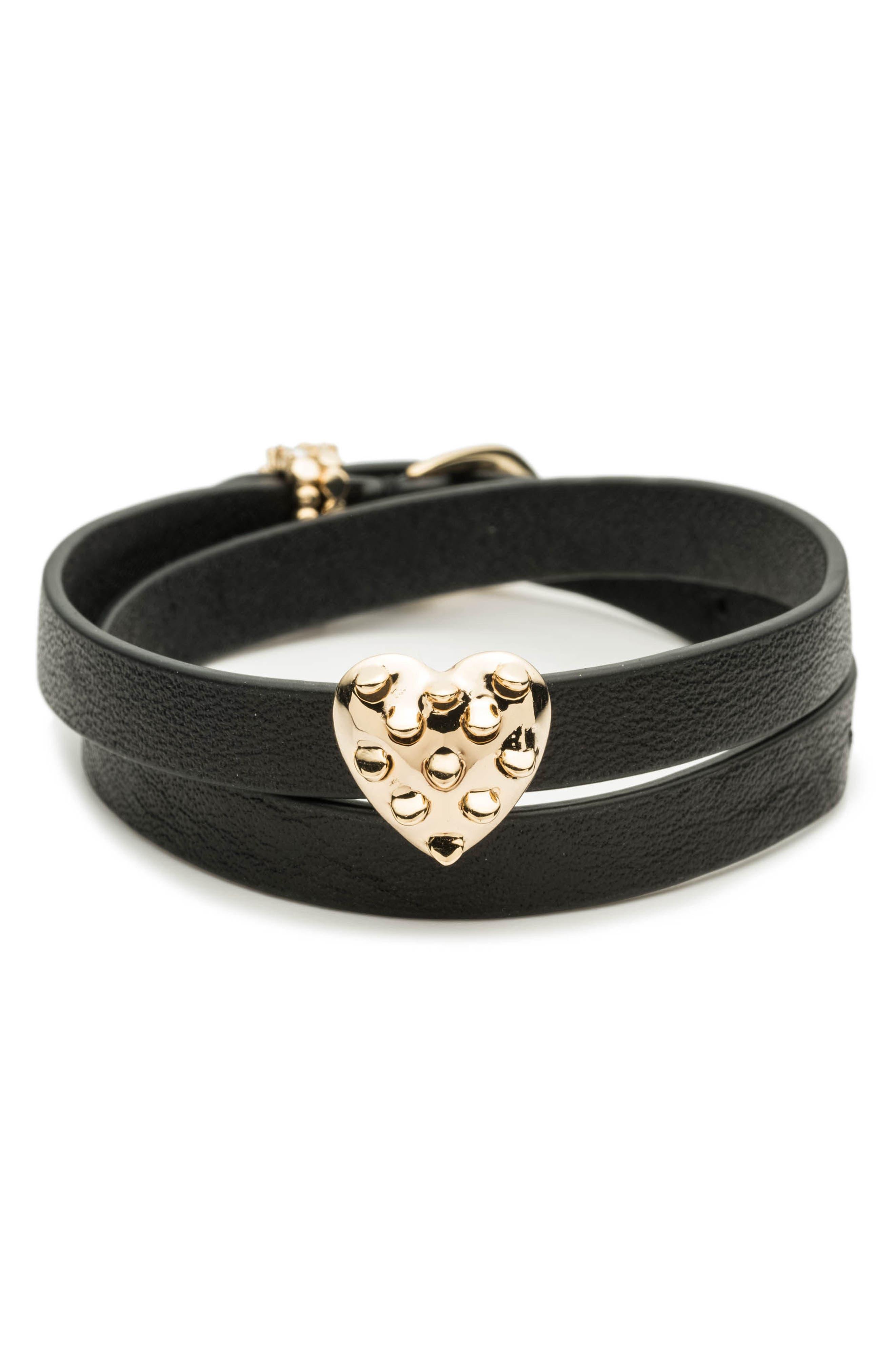 Grater Heart Slider Leather Wrap Bracelet,                         Main,                         color, 001