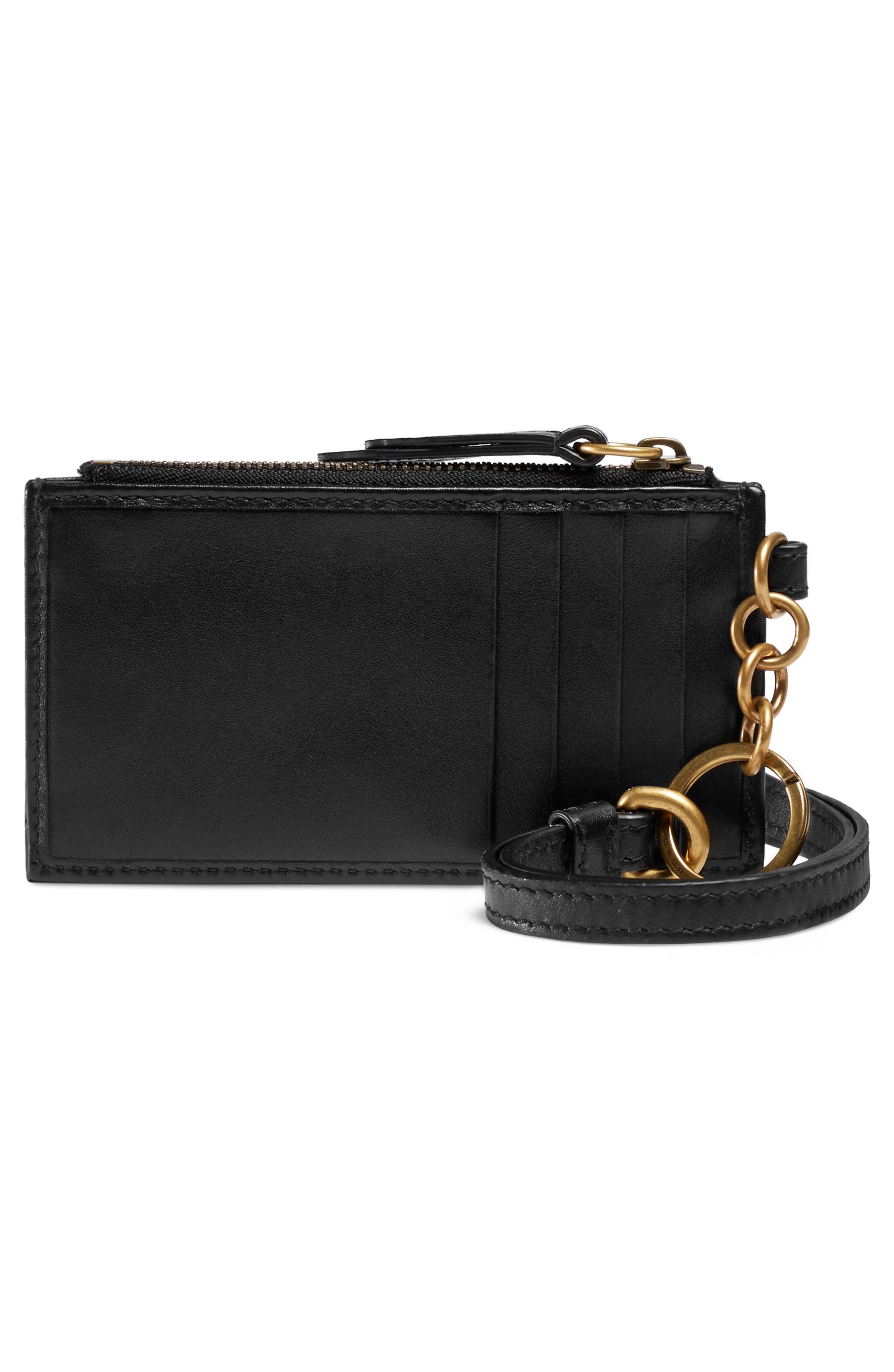 Marmont 2.0 Leather Card Case,                             Alternate thumbnail 3, color,                             NERO