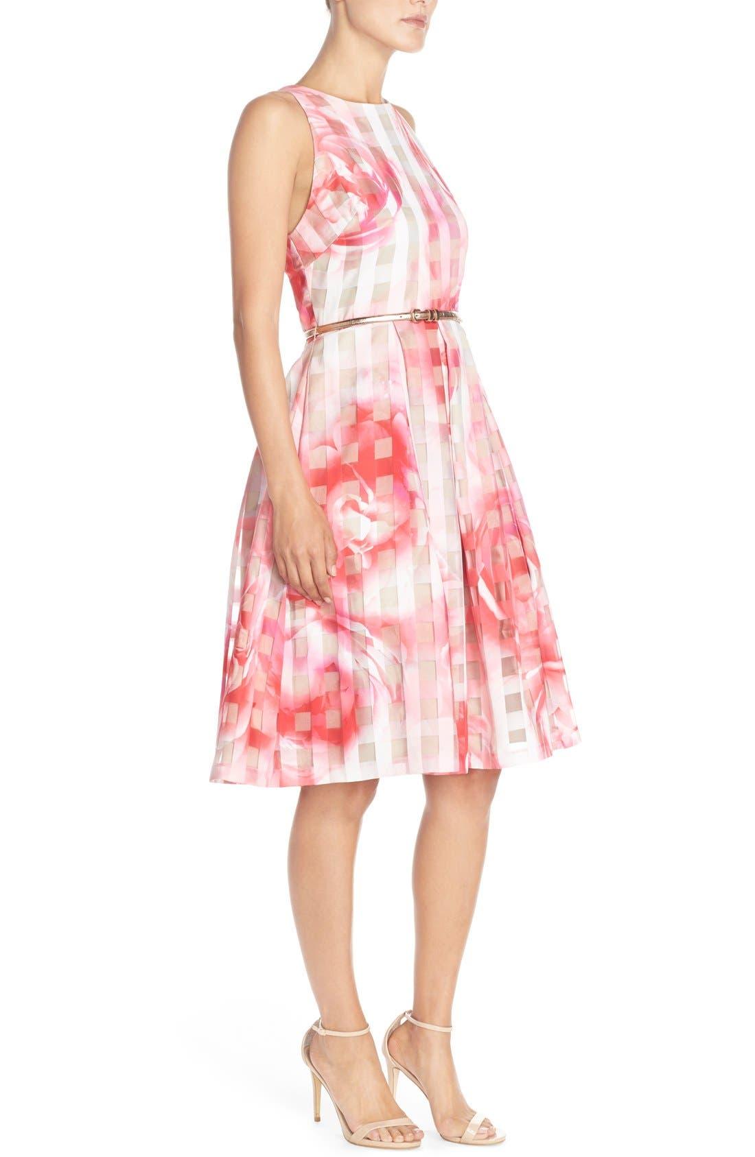 Floral Organza Fit & Flare Dress,                             Alternate thumbnail 5, color,                             660