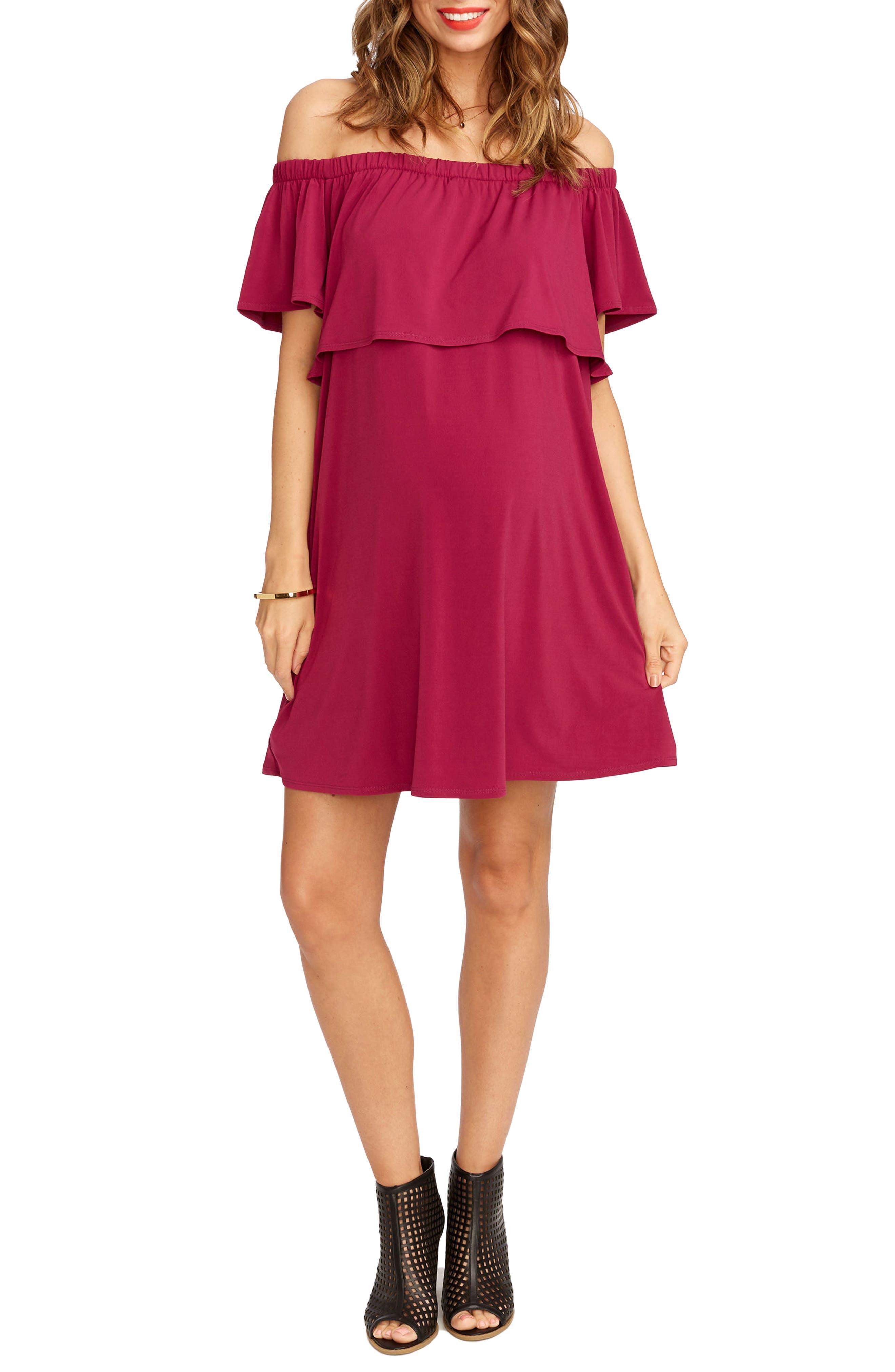 Rosie Pope Luisa Off The Shoulder Maternity Dress, Purple