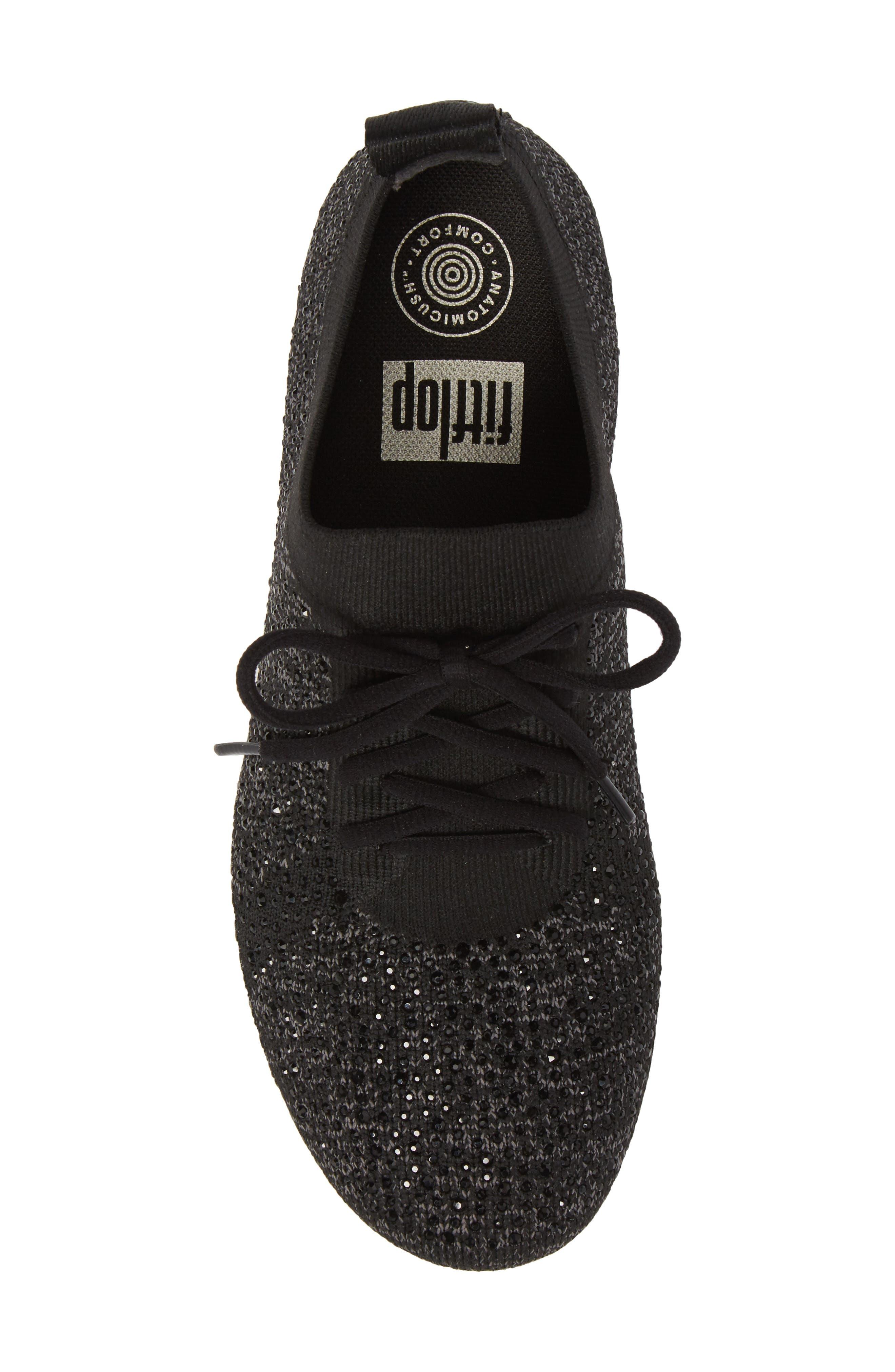 Uberknit<sup>™</sup> F-Sporty Sneaker,                             Alternate thumbnail 5, color,                             BLACK LEATHER