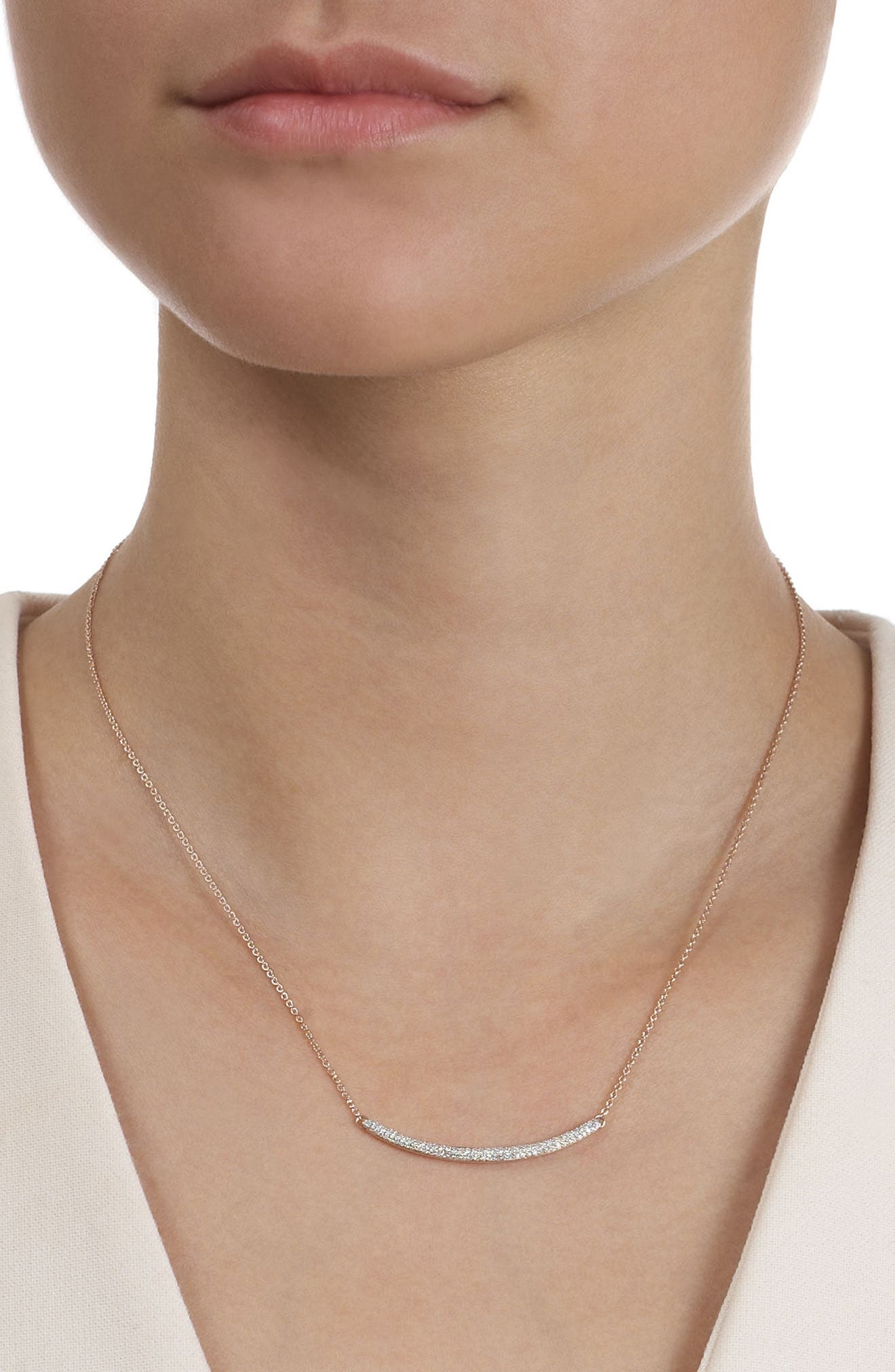 Skinny Diamond Necklace,                             Alternate thumbnail 4, color,                             ROSE GOLD