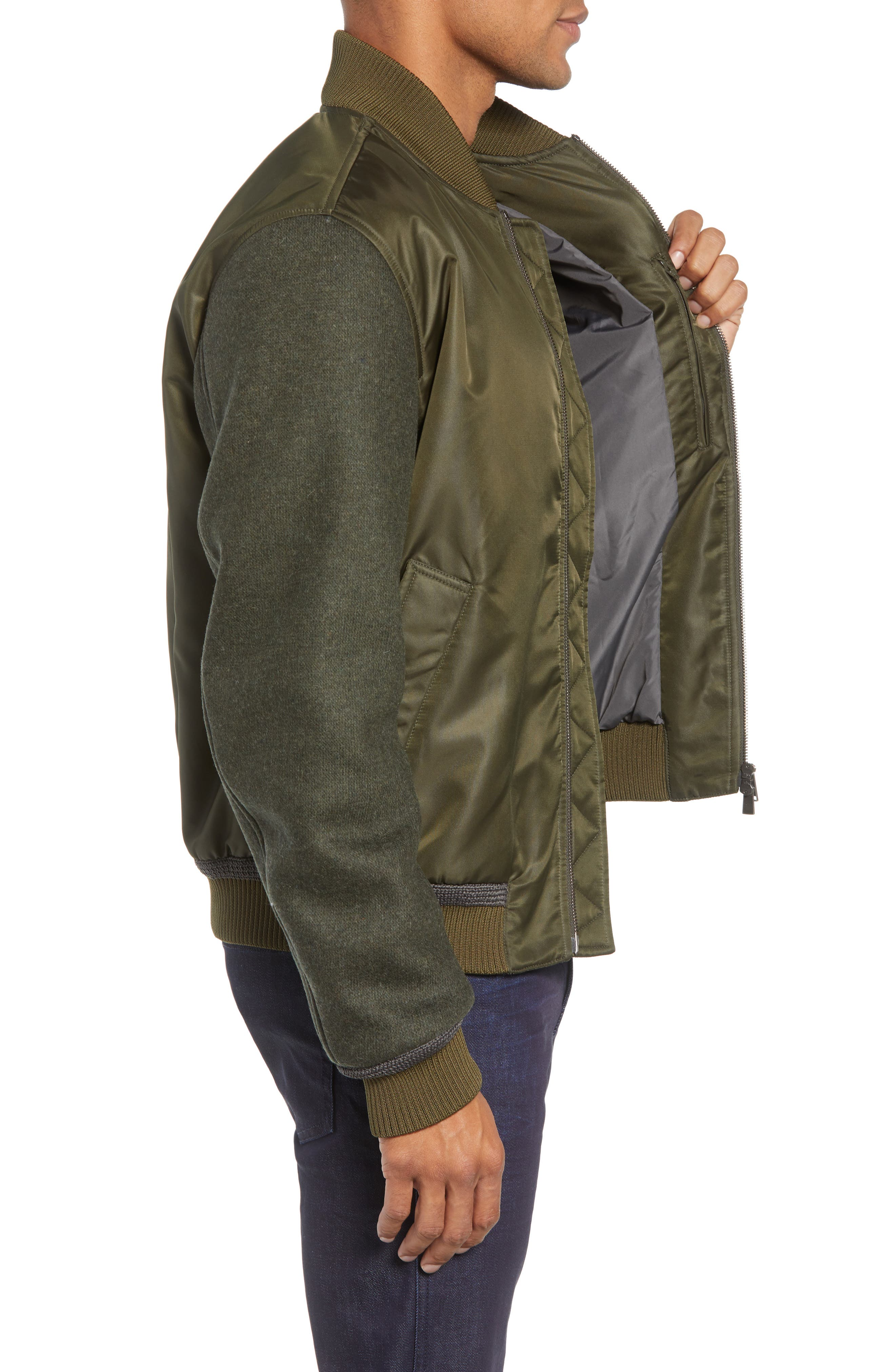 Cabe Regular Fit Bomber Jacket,                             Alternate thumbnail 3, color,                             GREEN