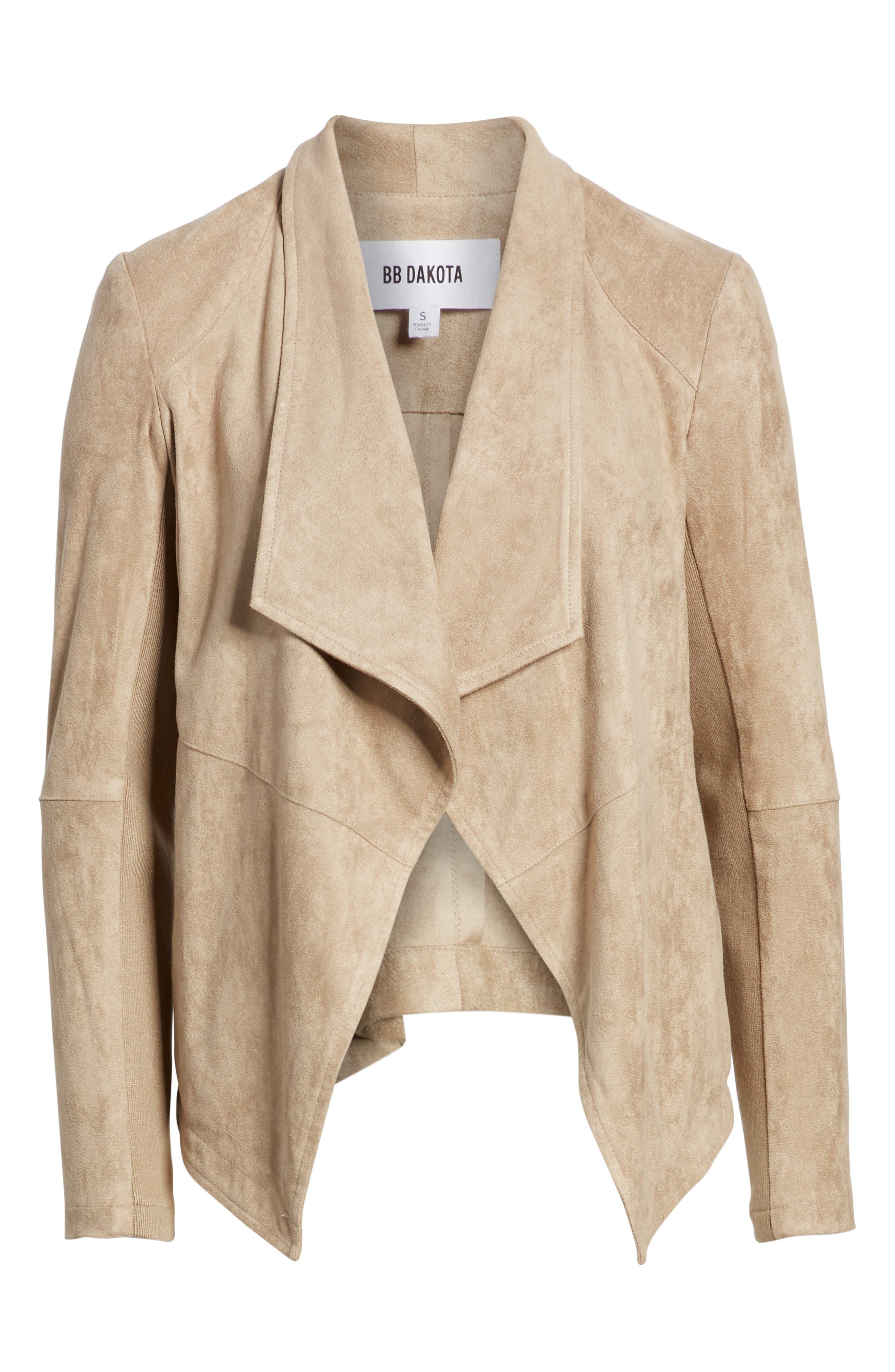 Nicholson Faux Suede Drape Front Jacket,                             Alternate thumbnail 6, color,                             WARM STONE