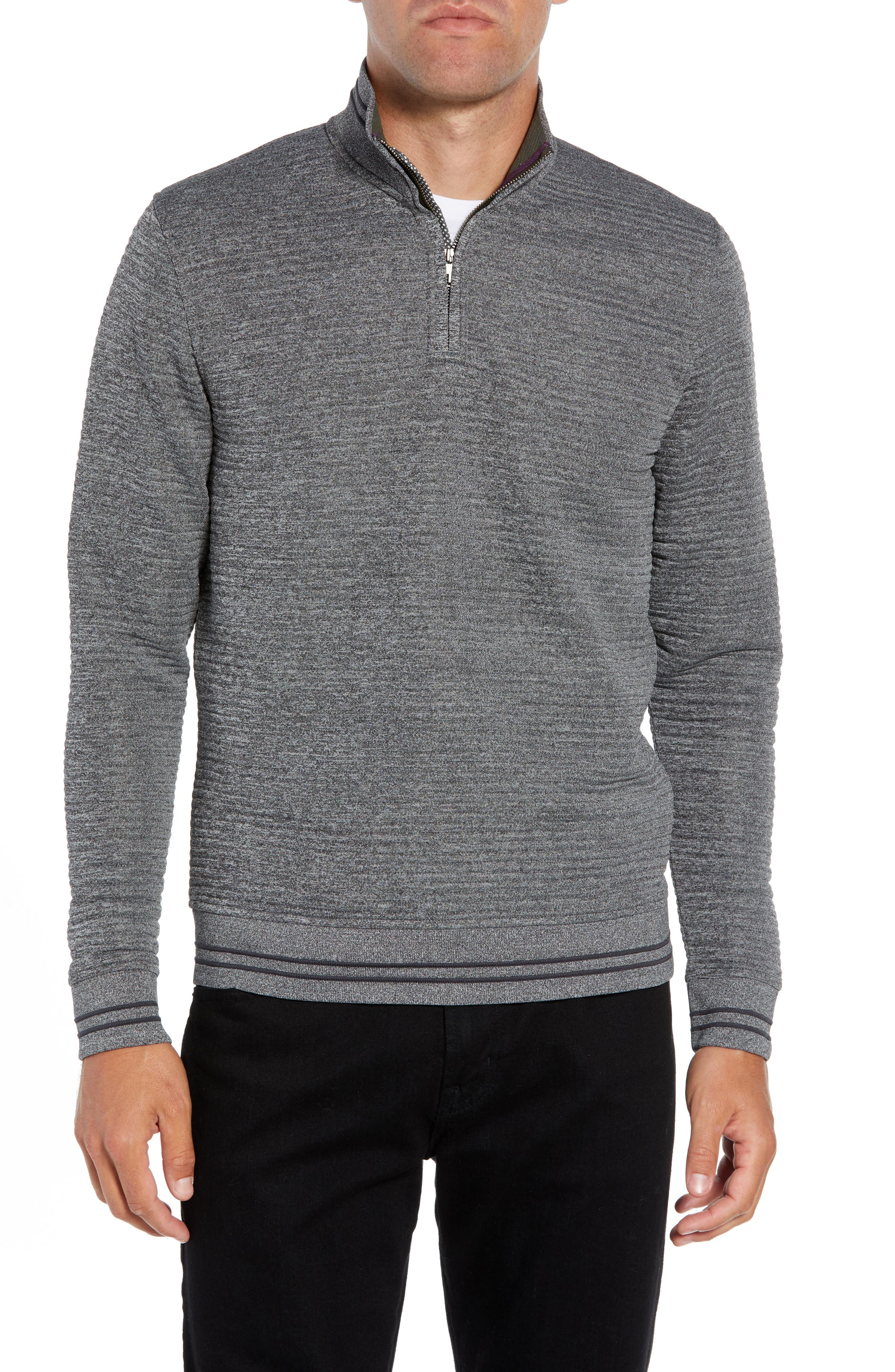 TED BAKER LONDON Ketchup Trim Fit Half Zip Pullover, Main, color, 020