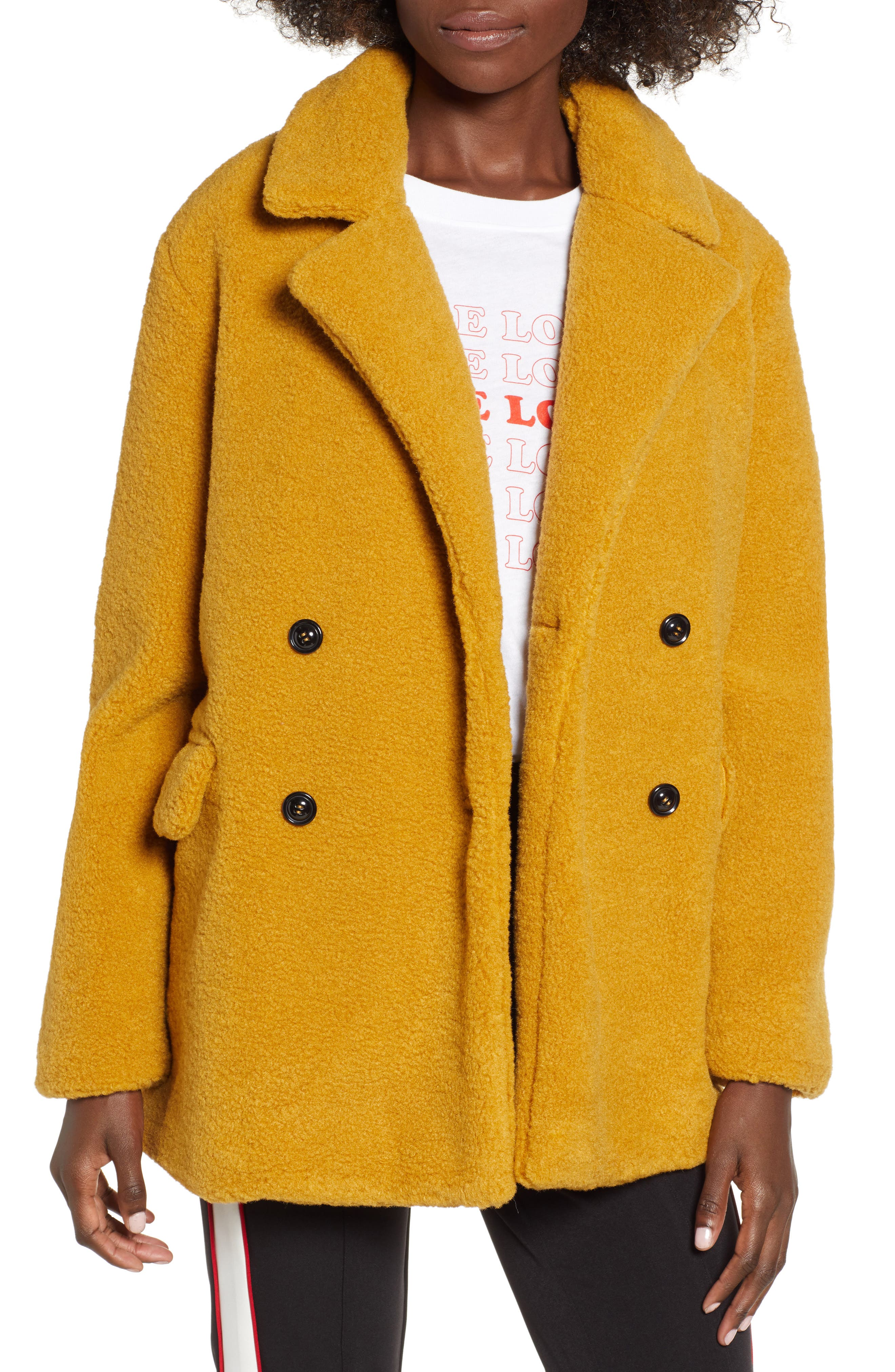 Textured Double Breasted Coat,                             Main thumbnail 1, color,                             YELLOW MINERAL