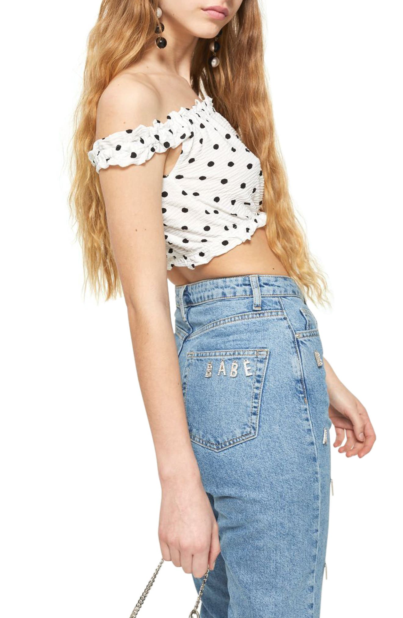 Strappy Gypsy Crop Top,                             Alternate thumbnail 3, color,                             100