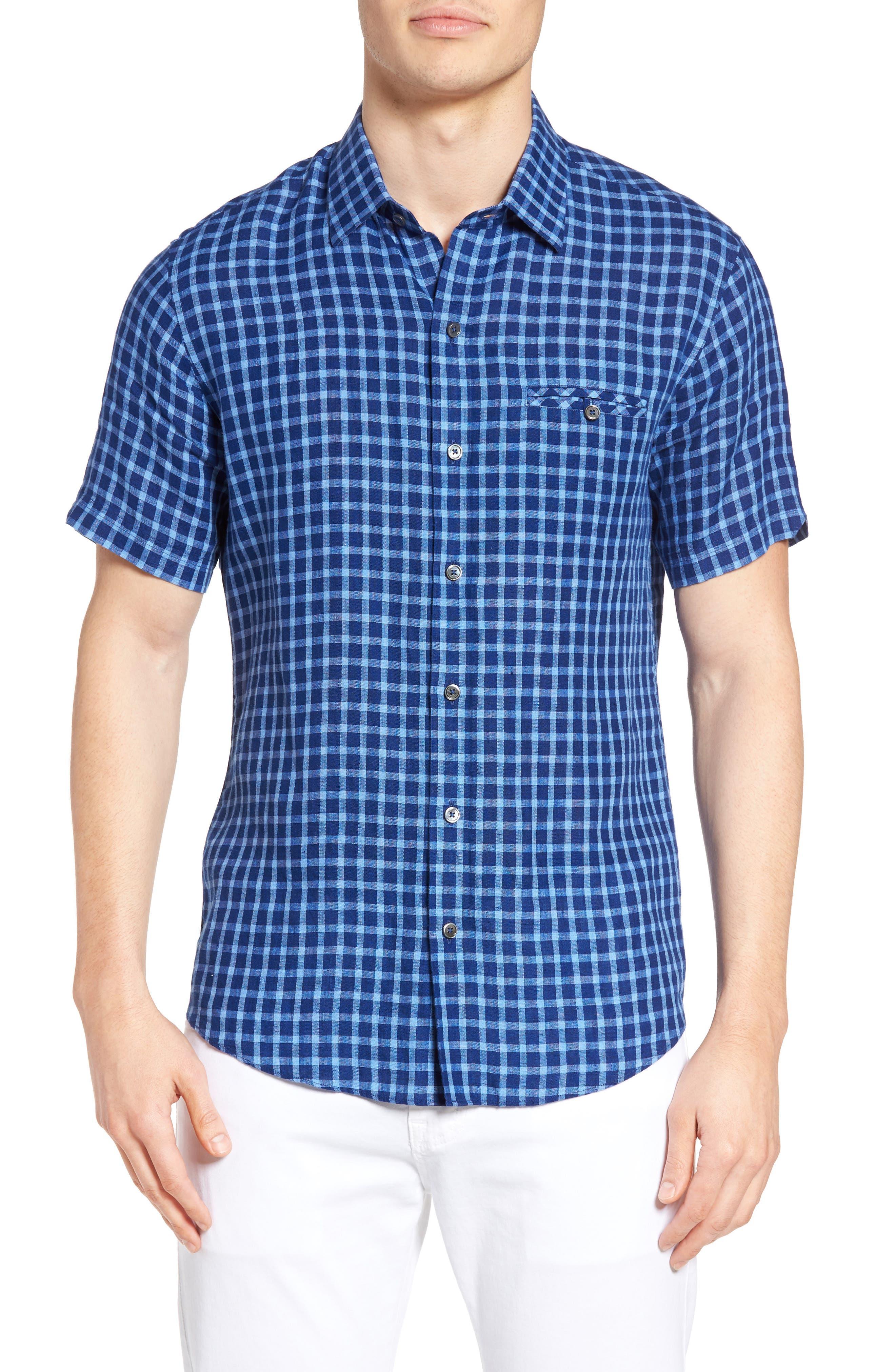 Ray Plaid Linen Sport Shirt,                         Main,                         color, 421