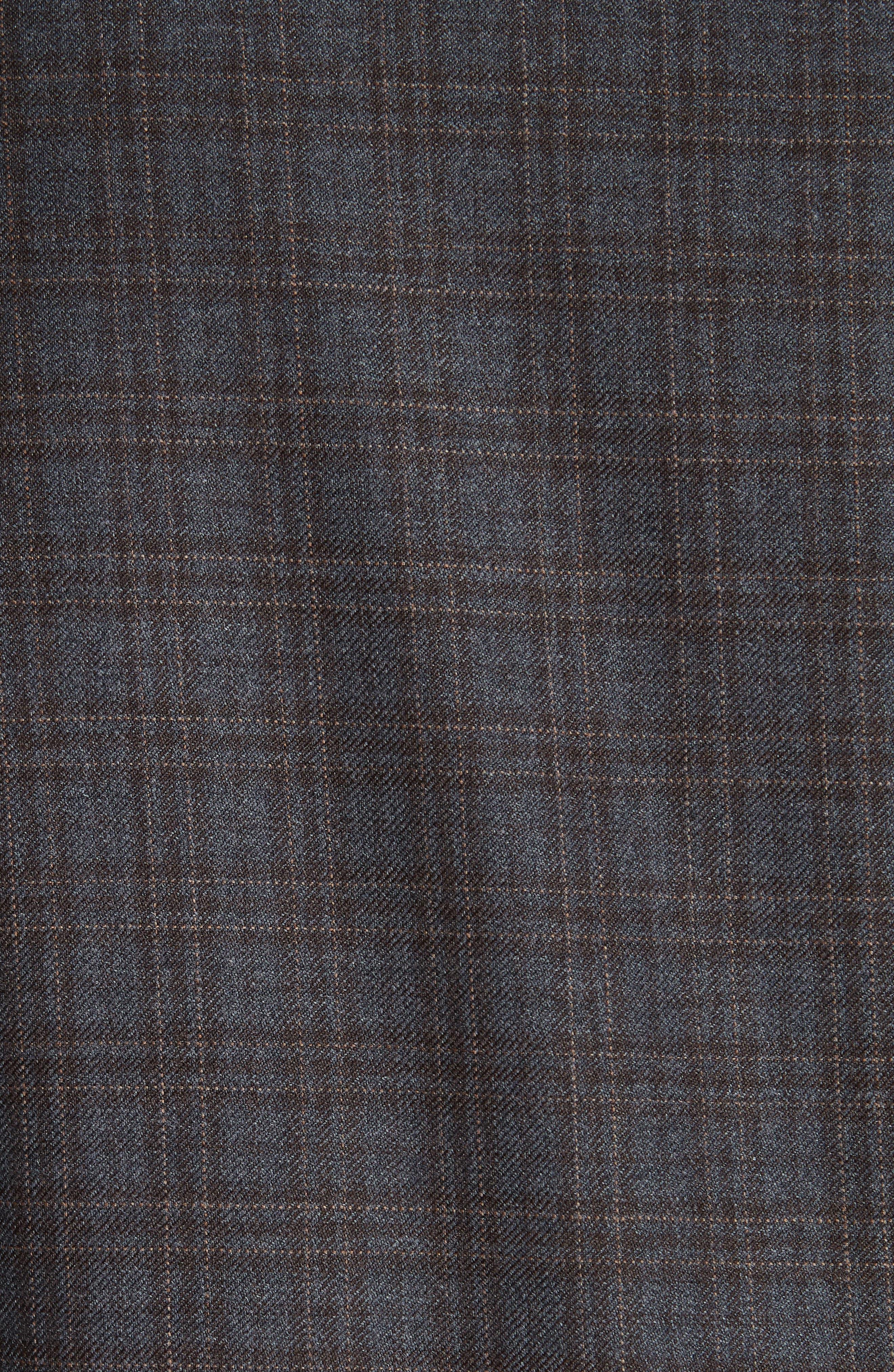 Classic Fit Plaid Wool Sport Coat,                             Alternate thumbnail 6, color,                             GREY/ BROWN