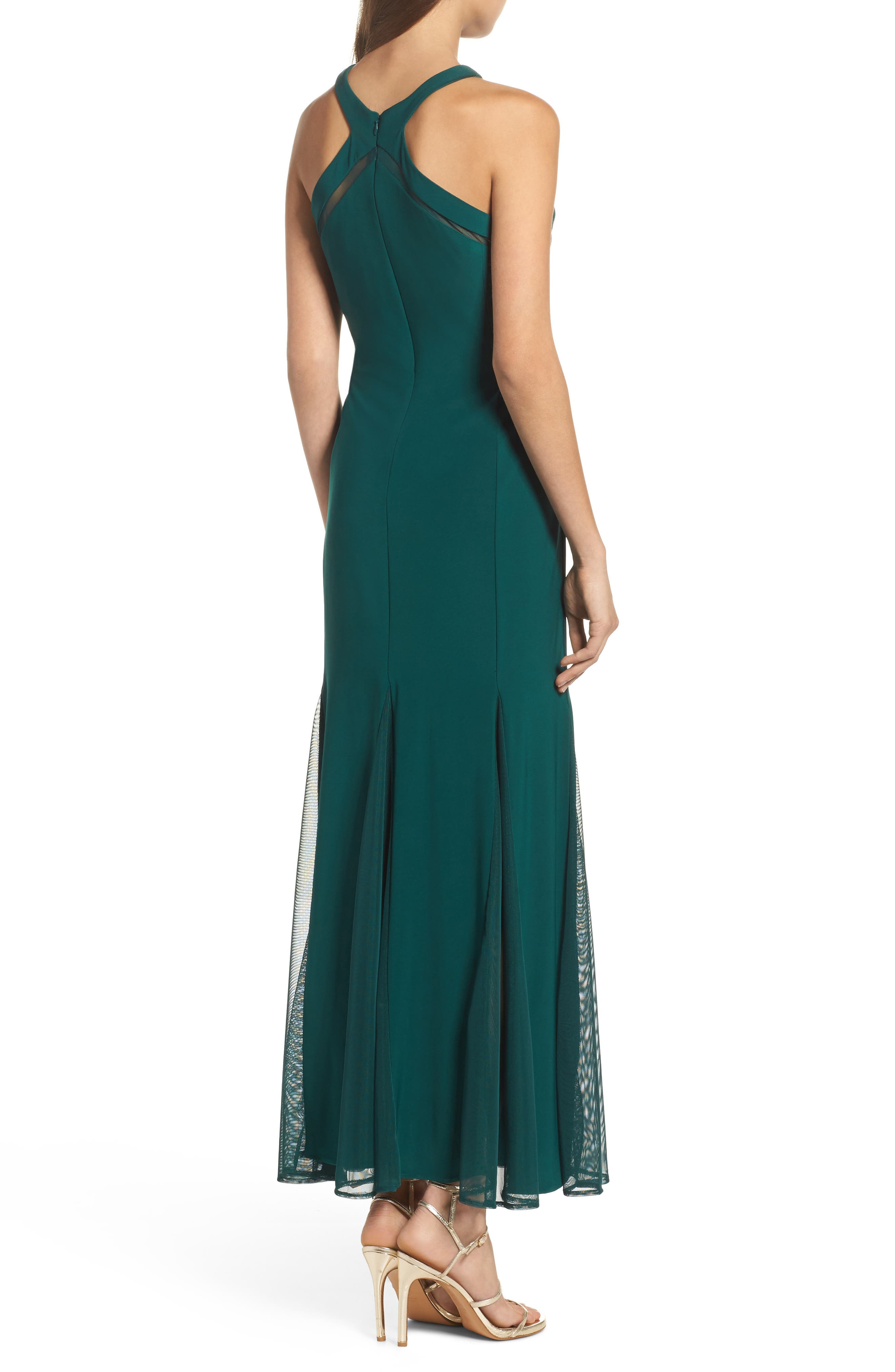 Mesh Inset Knit Mermaid Gown,                             Alternate thumbnail 2, color,                             344