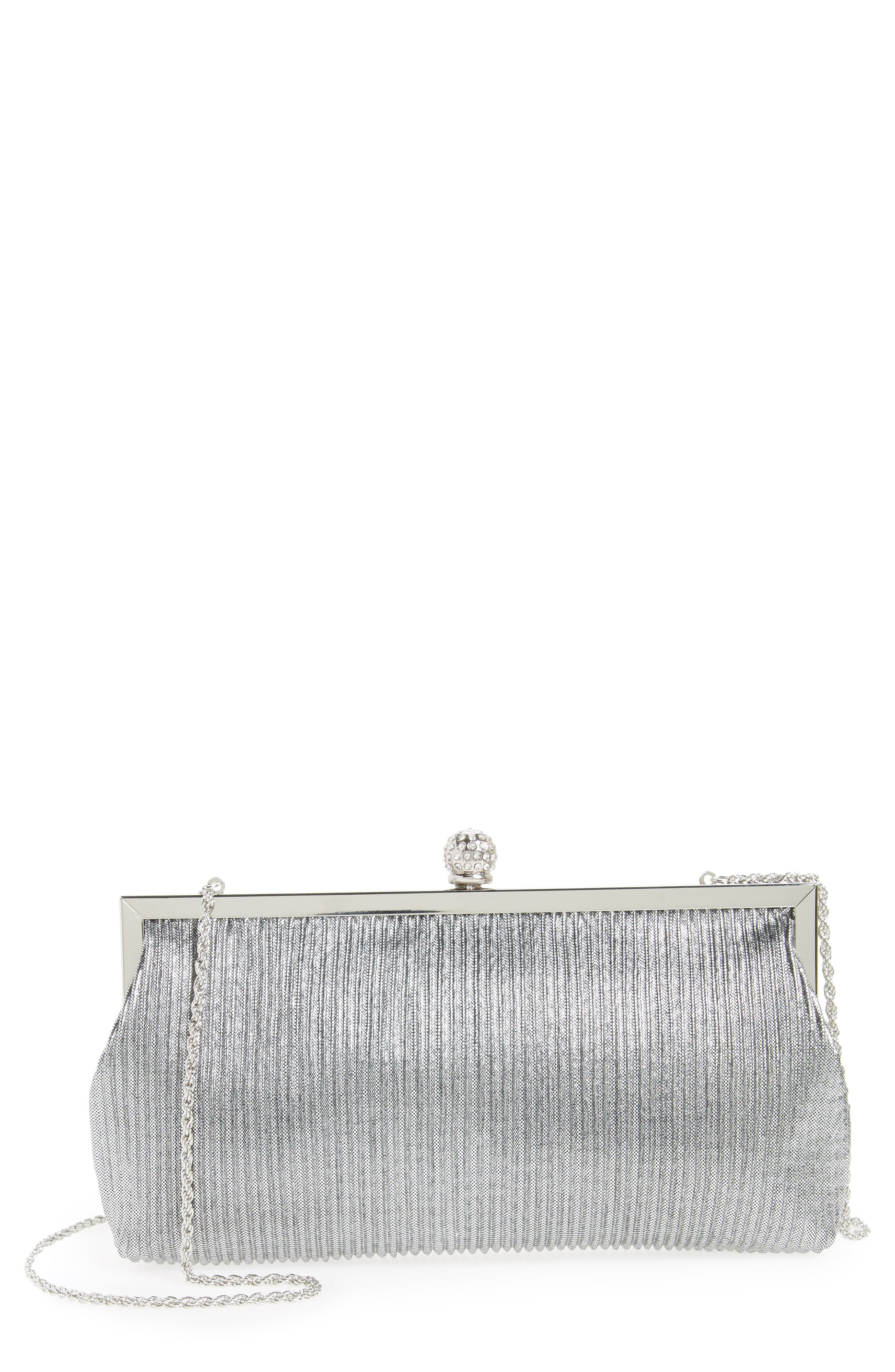 Aneka Pleated Shine Clutch,                             Main thumbnail 1, color,                             STEEL