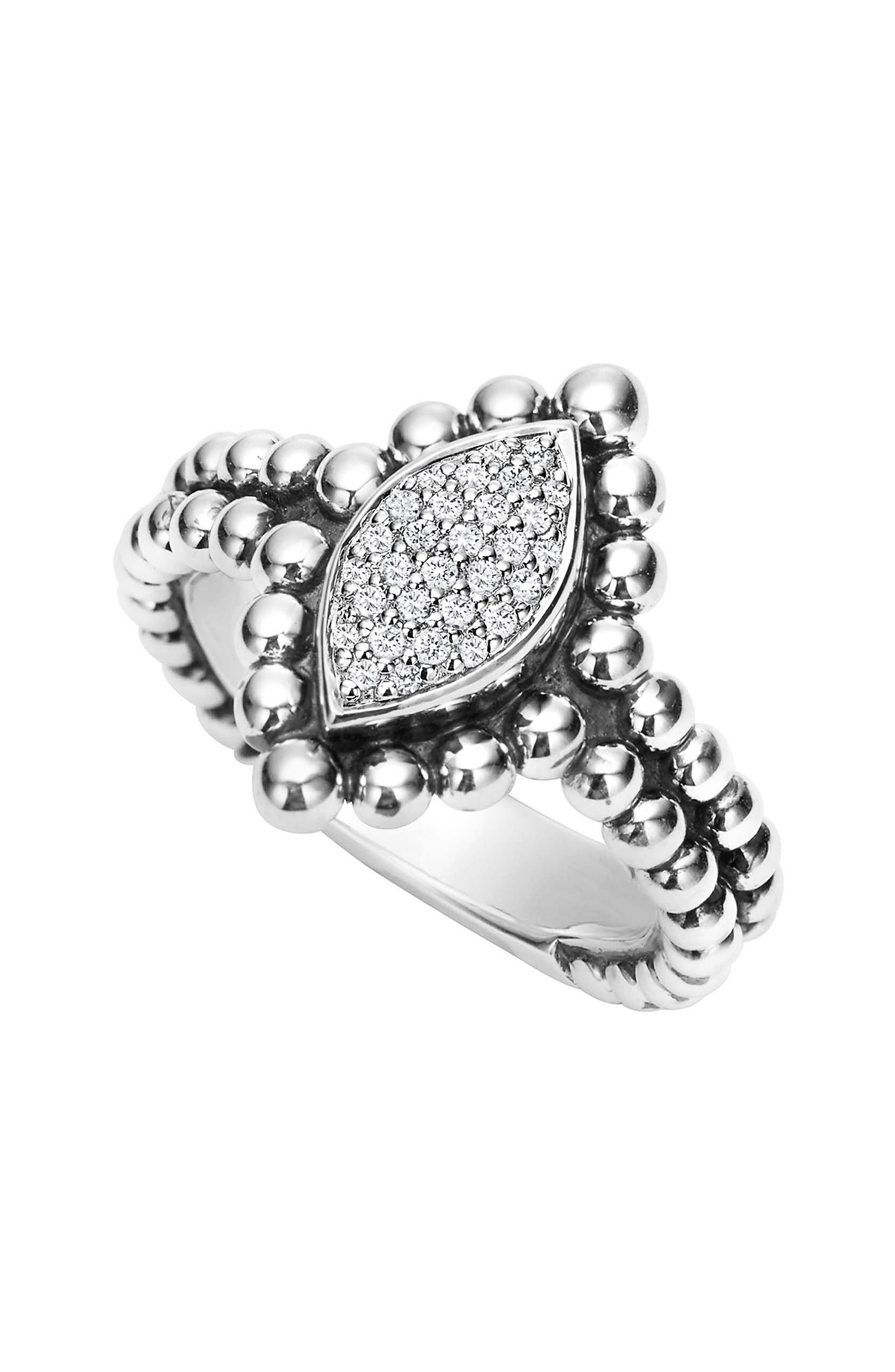 Caviar Spark Diamond Marquise Ring,                         Main,                         color, SILVER/ DIAMOND